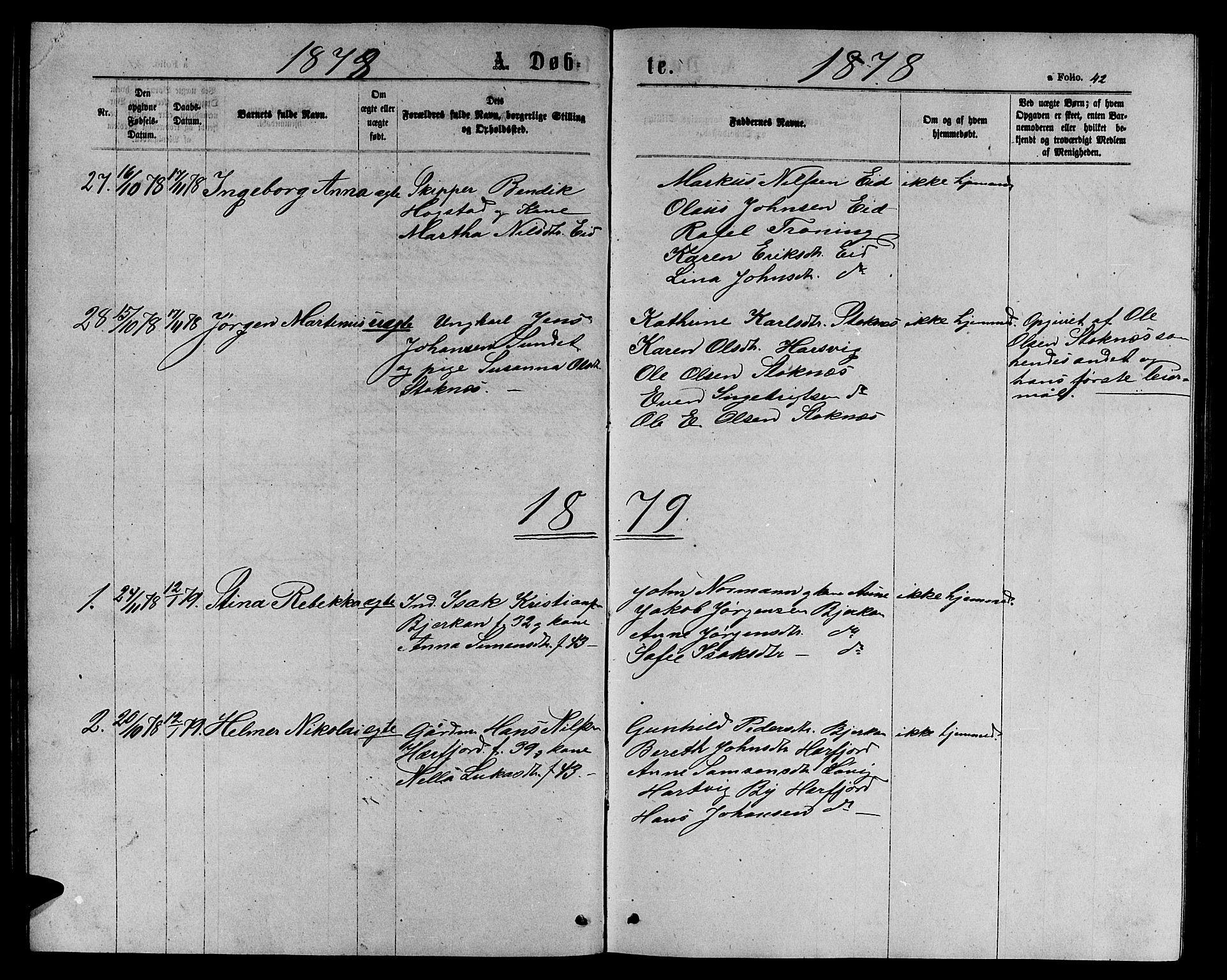 SAT, Ministerialprotokoller, klokkerbøker og fødselsregistre - Sør-Trøndelag, 656/L0695: Klokkerbok nr. 656C01, 1867-1889, s. 42