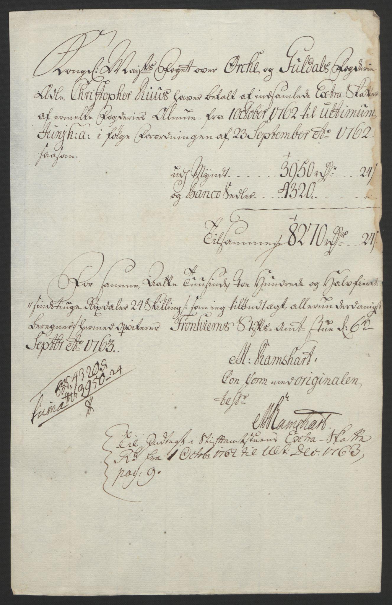 RA, Rentekammeret inntil 1814, Reviderte regnskaper, Fogderegnskap, R60/L4094: Ekstraskatten Orkdal og Gauldal, 1762-1765, s. 63