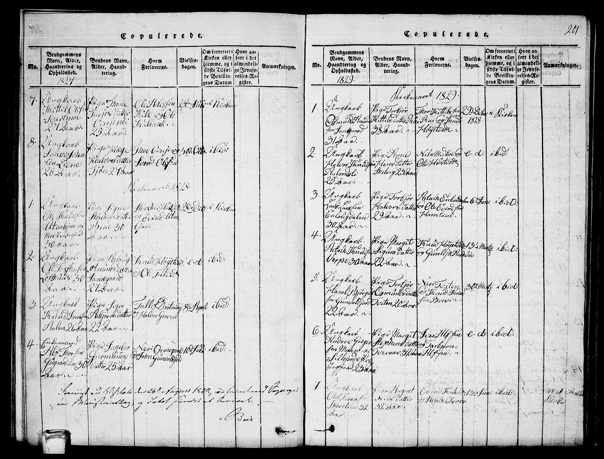 SAKO, Vinje kirkebøker, G/Ga/L0001: Klokkerbok nr. I 1, 1814-1843, s. 201