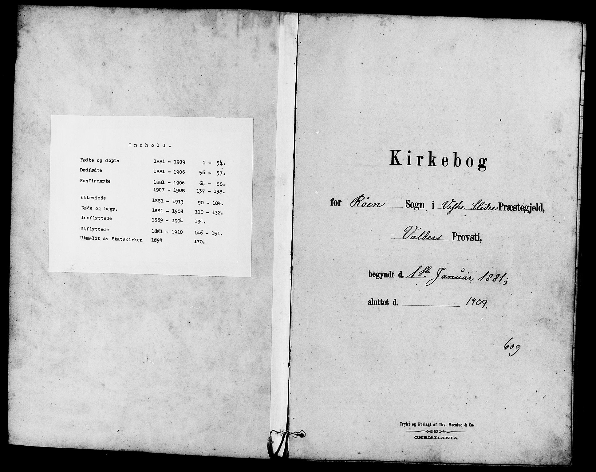 SAH, Vestre Slidre prestekontor, Klokkerbok nr. 5, 1881-1913
