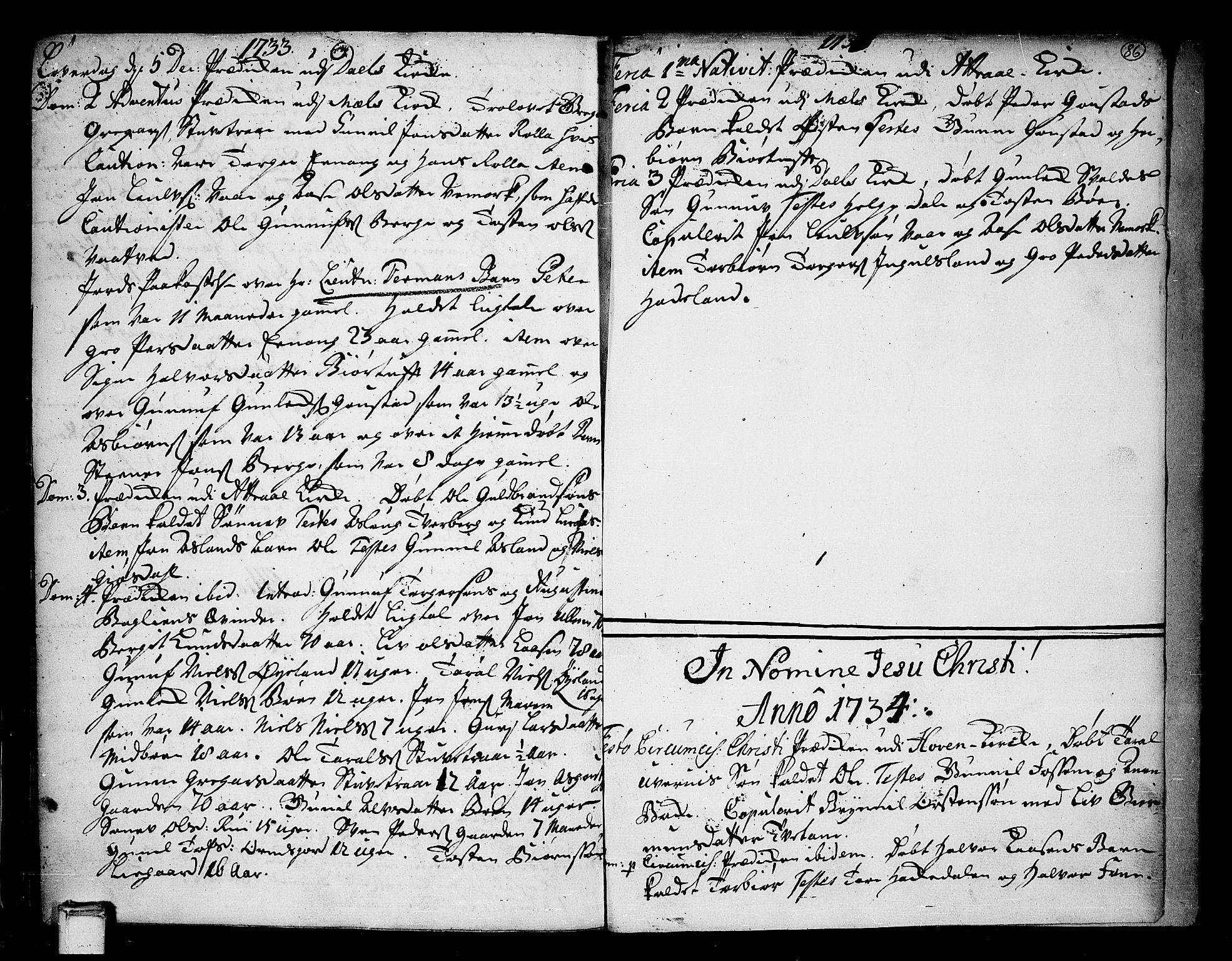 SAKO, Tinn kirkebøker, F/Fa/L0001: Ministerialbok nr. I 1, 1717-1734, s. 86