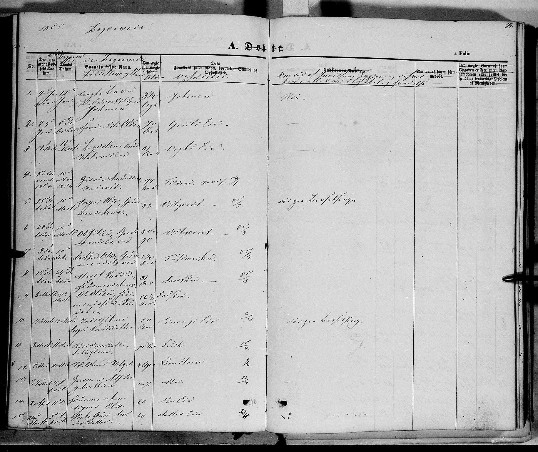 SAH, Vestre Slidre prestekontor, Ministerialbok nr. 1, 1844-1855, s. 114