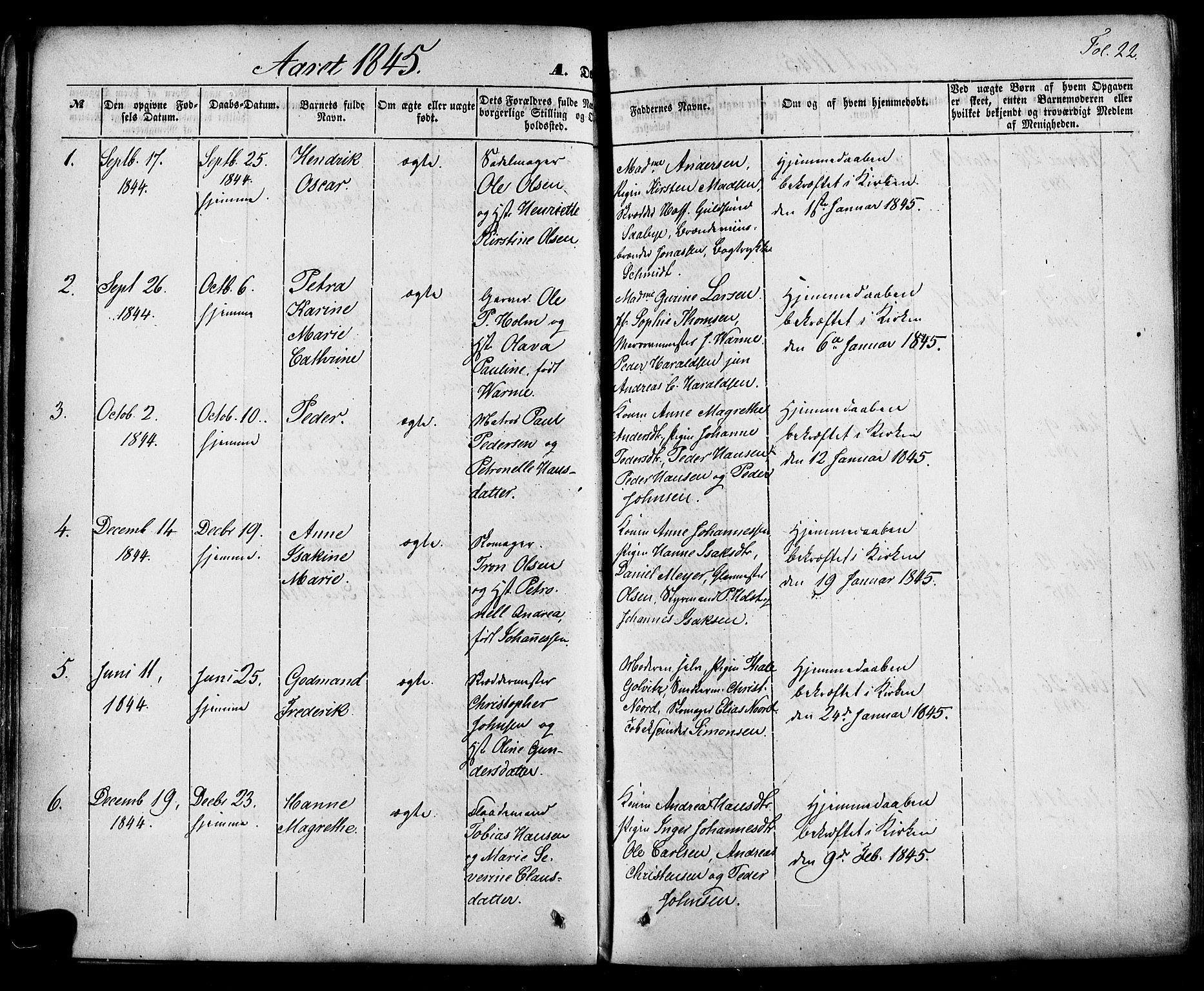SAKO, Skien kirkebøker, F/Fa/L0006a: Ministerialbok nr. 6A, 1843-1856, s. 22