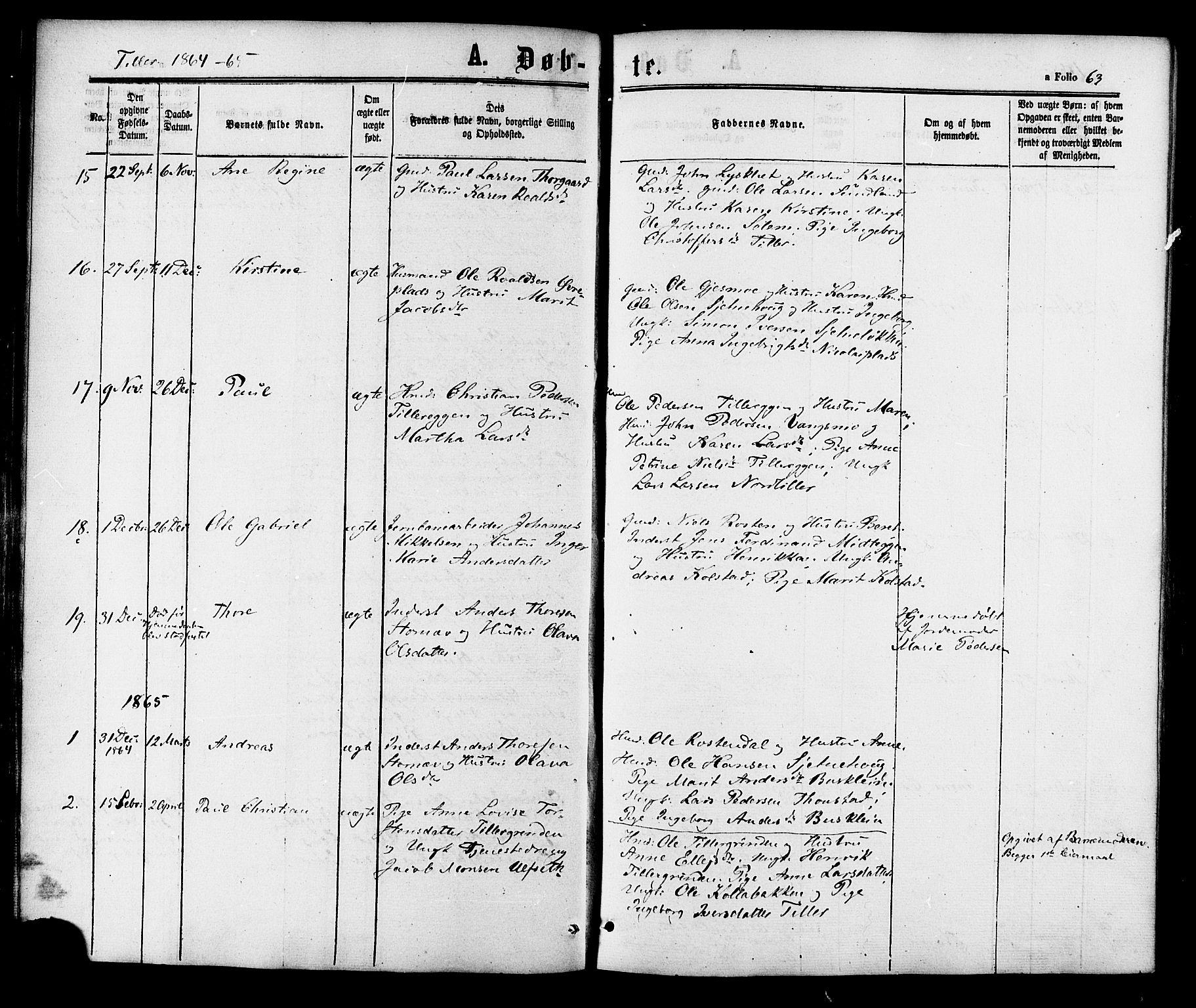 SAT, Ministerialprotokoller, klokkerbøker og fødselsregistre - Sør-Trøndelag, 618/L0443: Ministerialbok nr. 618A06 /2, 1863-1879, s. 63