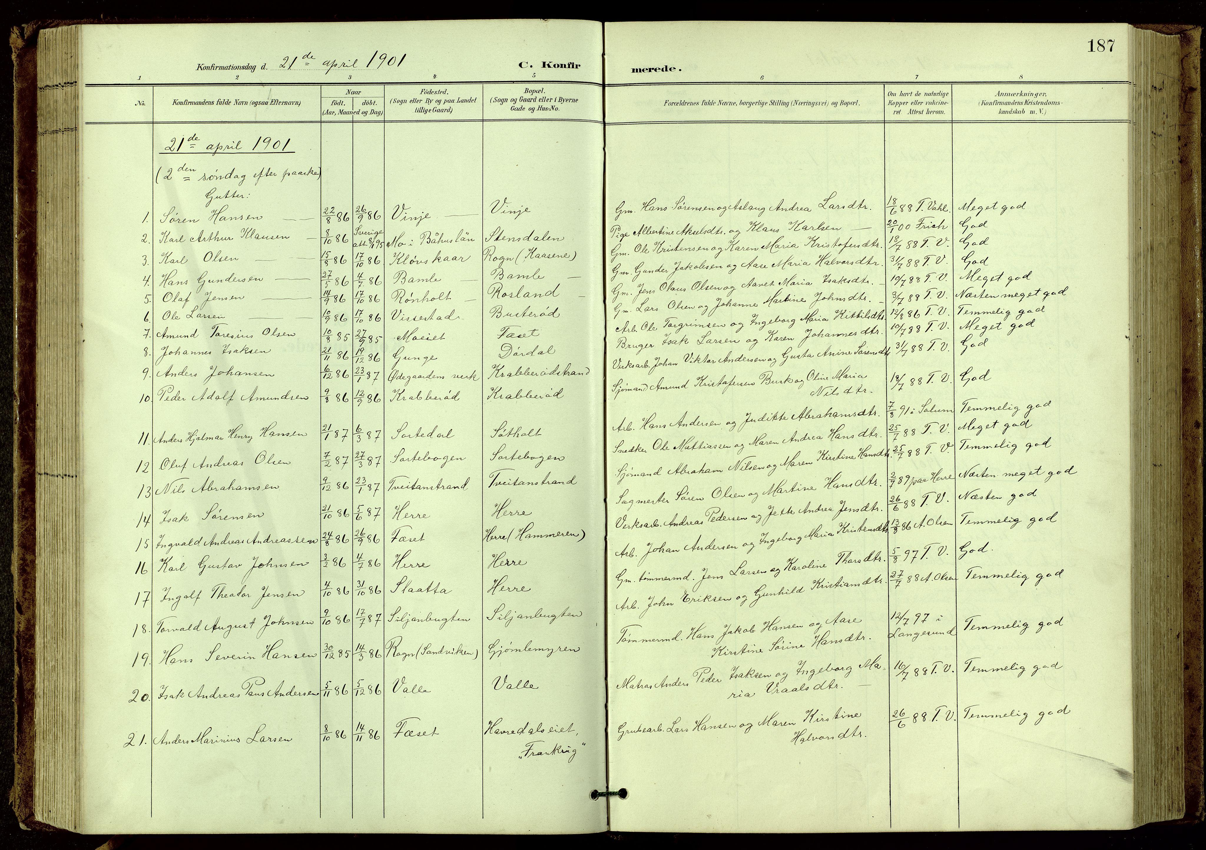SAKO, Bamble kirkebøker, G/Ga/L0010: Klokkerbok nr. I 10, 1901-1919, s. 187