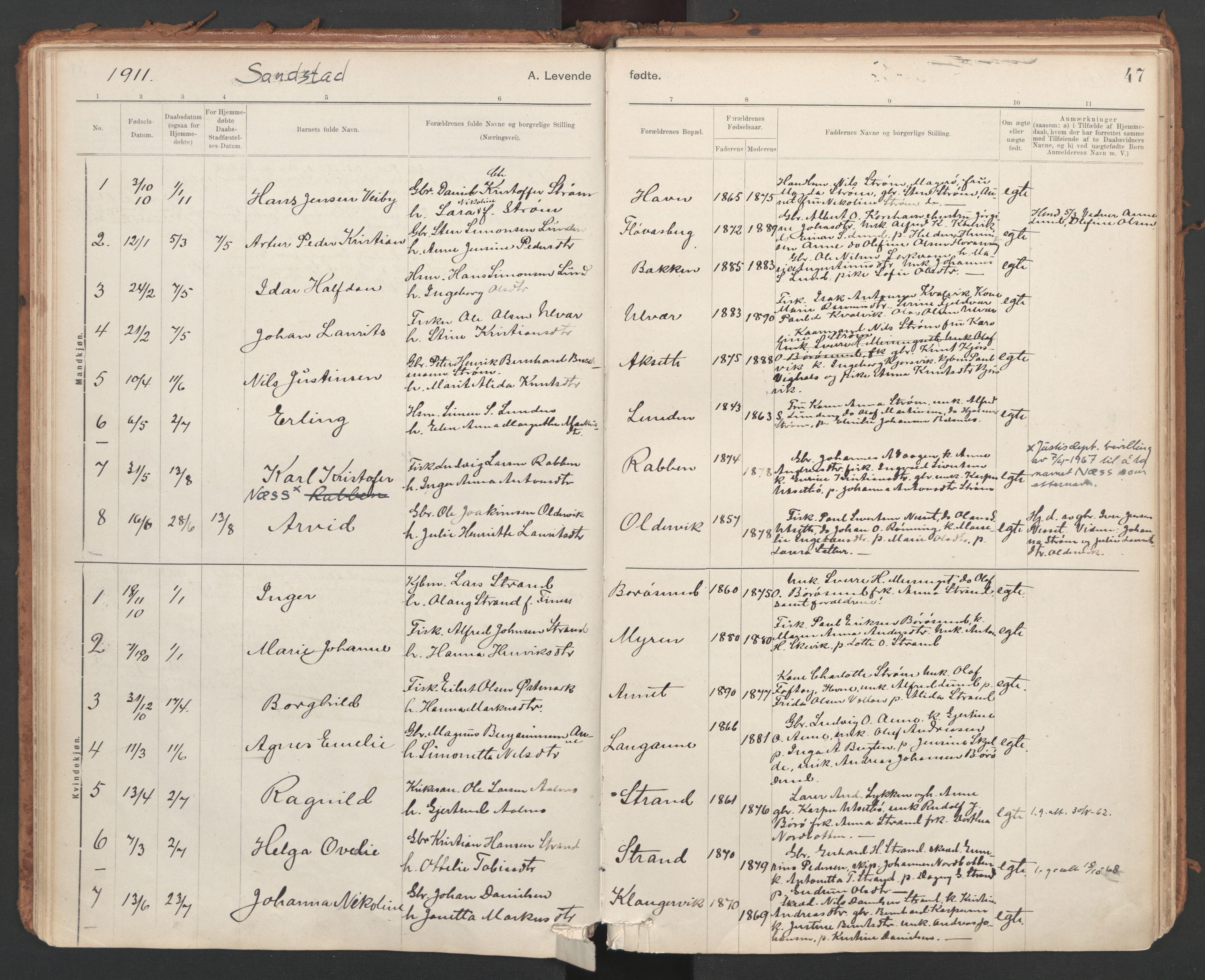 SAT, Ministerialprotokoller, klokkerbøker og fødselsregistre - Sør-Trøndelag, 639/L0572: Ministerialbok nr. 639A01, 1890-1920, s. 47