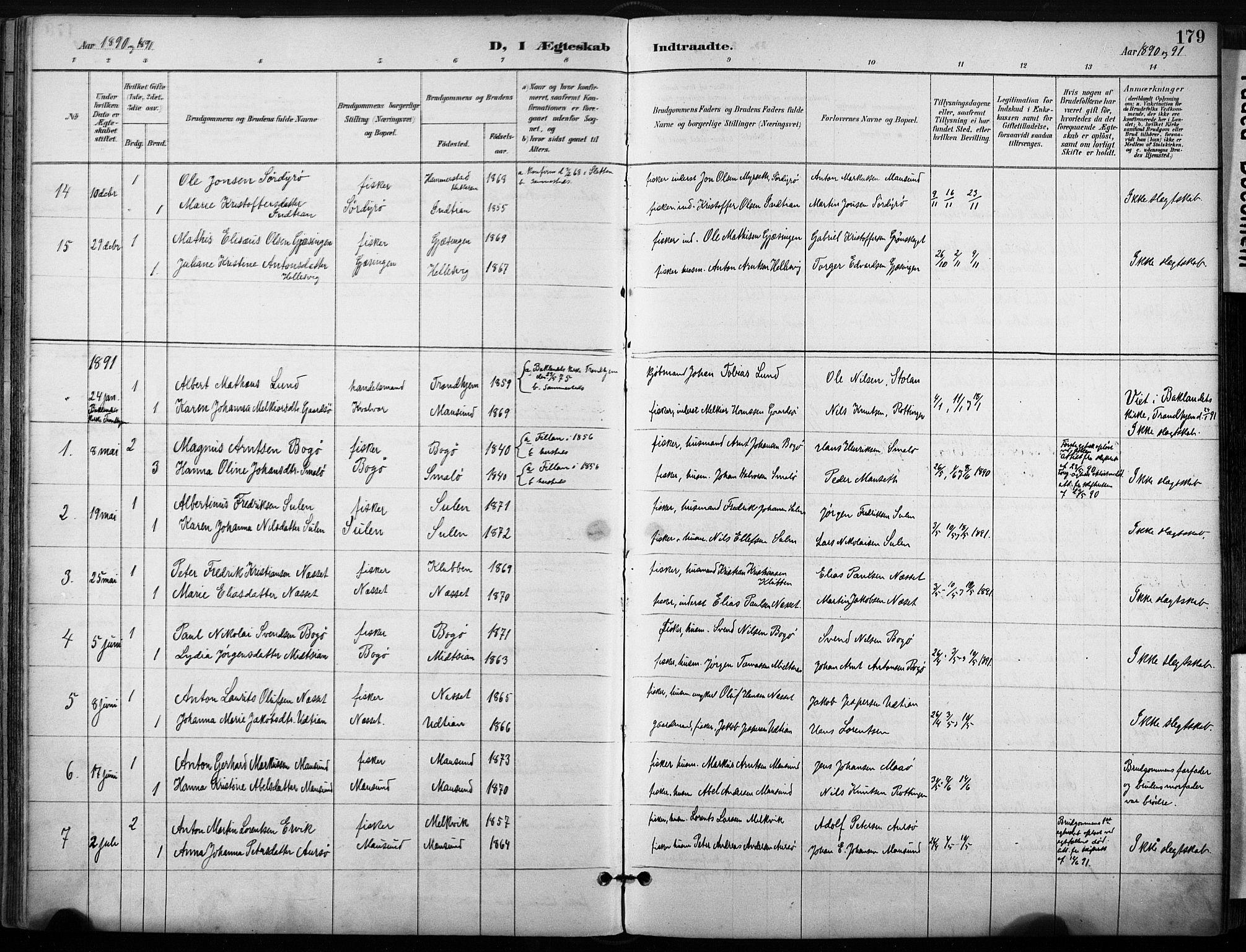 SAT, Ministerialprotokoller, klokkerbøker og fødselsregistre - Sør-Trøndelag, 640/L0579: Ministerialbok nr. 640A04, 1889-1902, s. 179