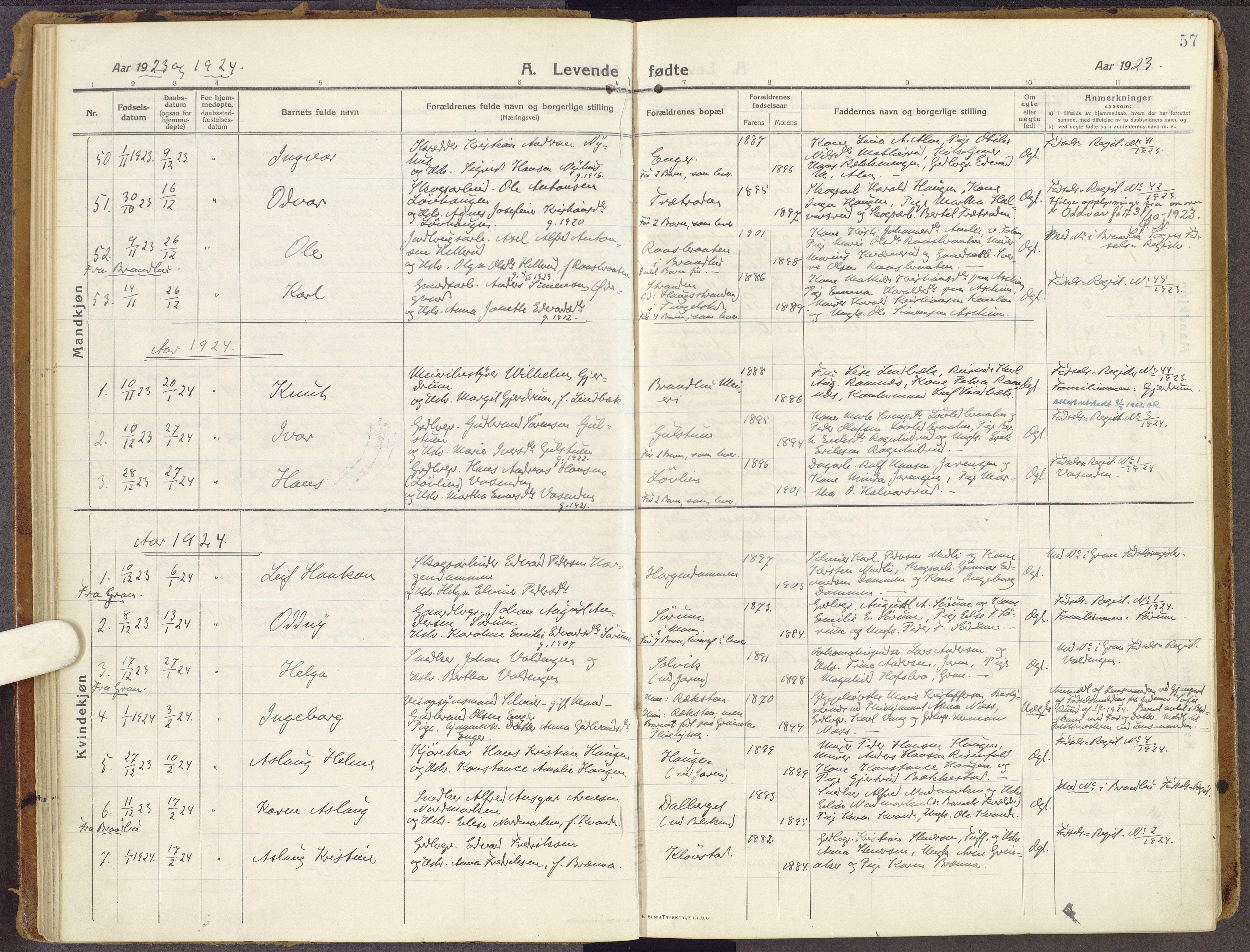 SAH, Brandbu prestekontor, Ministerialbok nr. 3, 1914-1928, s. 57