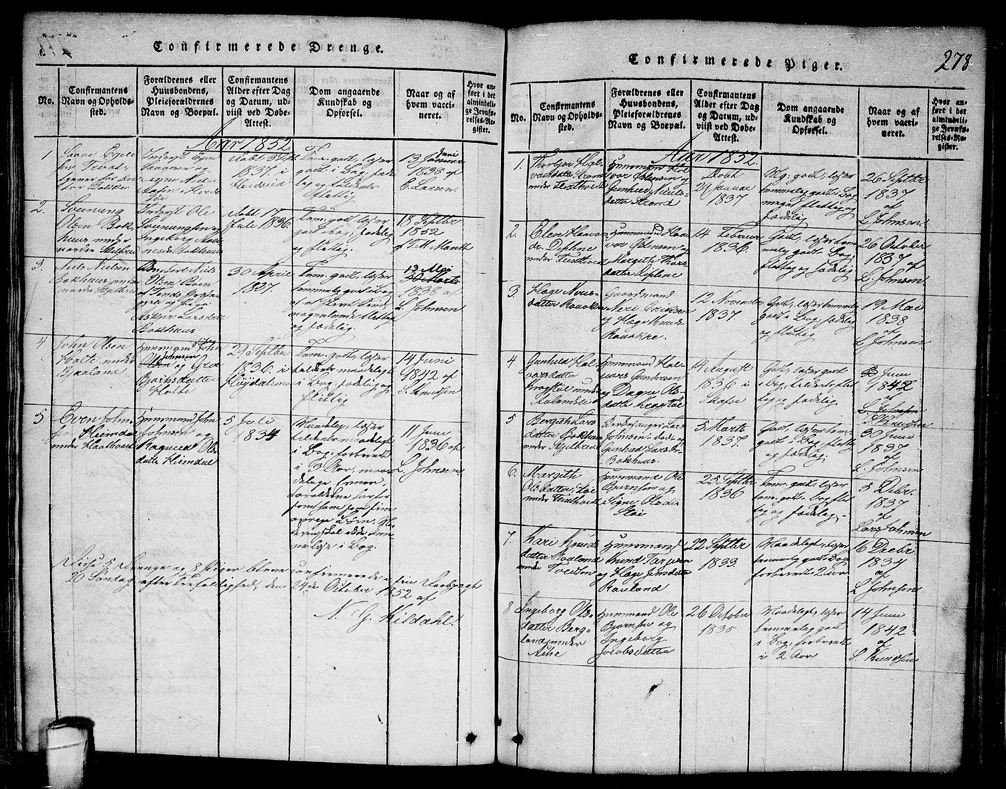 SAKO, Lårdal kirkebøker, G/Ga/L0001: Klokkerbok nr. I 1, 1815-1861, s. 278
