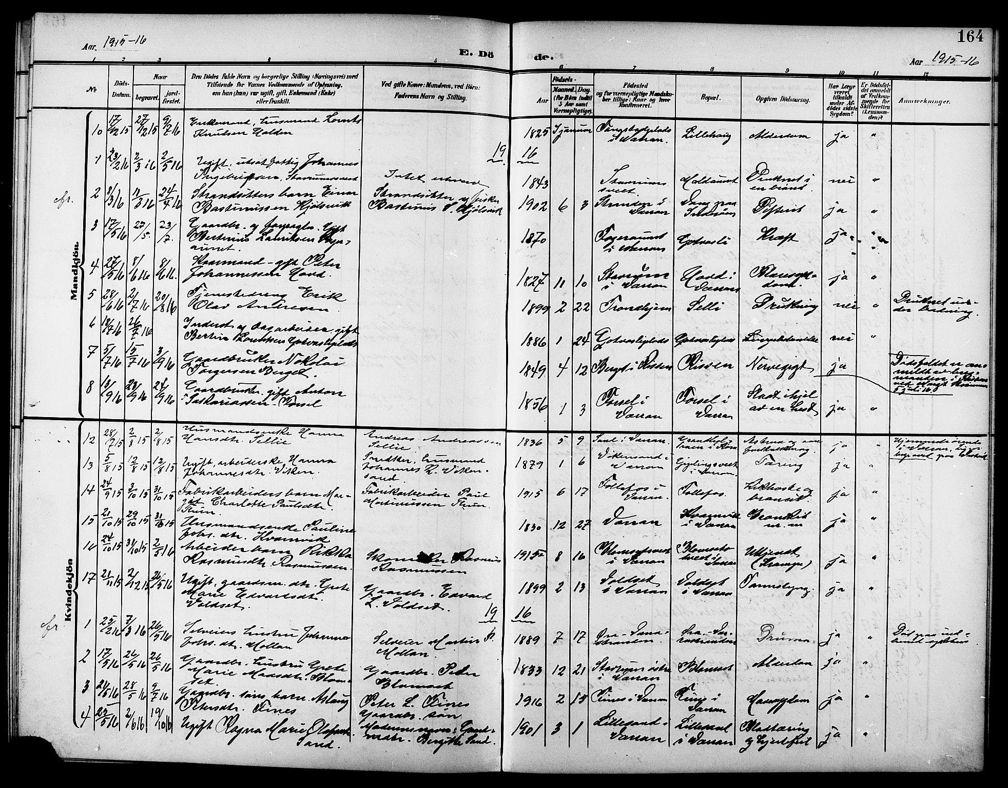 SAT, Ministerialprotokoller, klokkerbøker og fødselsregistre - Nord-Trøndelag, 744/L0424: Klokkerbok nr. 744C03, 1906-1923, s. 164