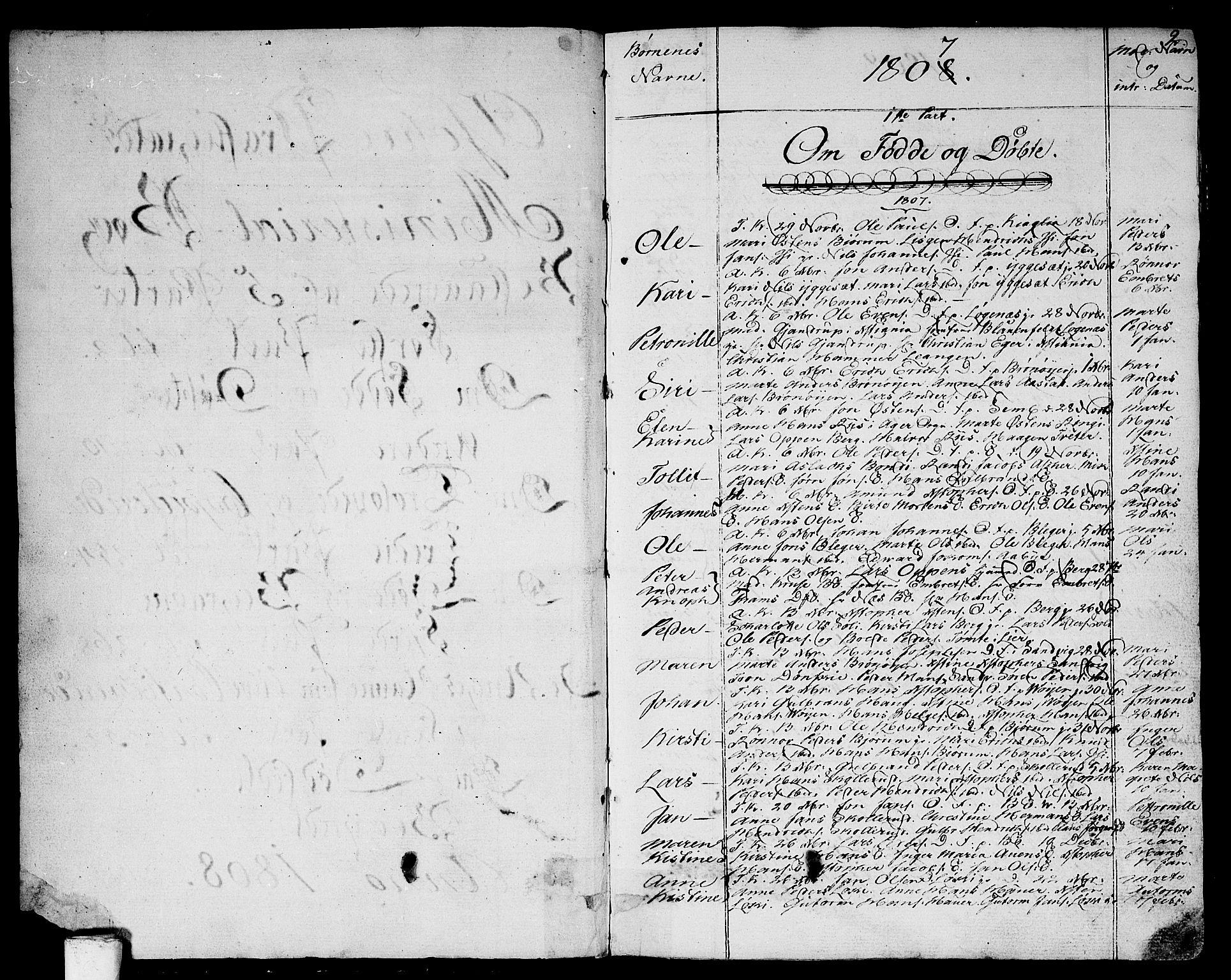 SAO, Asker prestekontor Kirkebøker, F/Fa/L0005: Ministerialbok nr. I 5, 1807-1813, s. 2
