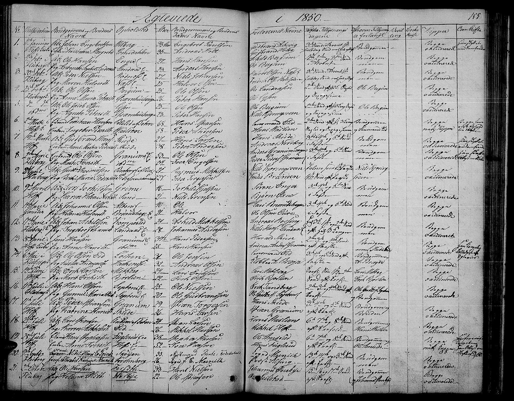 SAH, Søndre Land prestekontor, L/L0001: Klokkerbok nr. 1, 1849-1883, s. 155