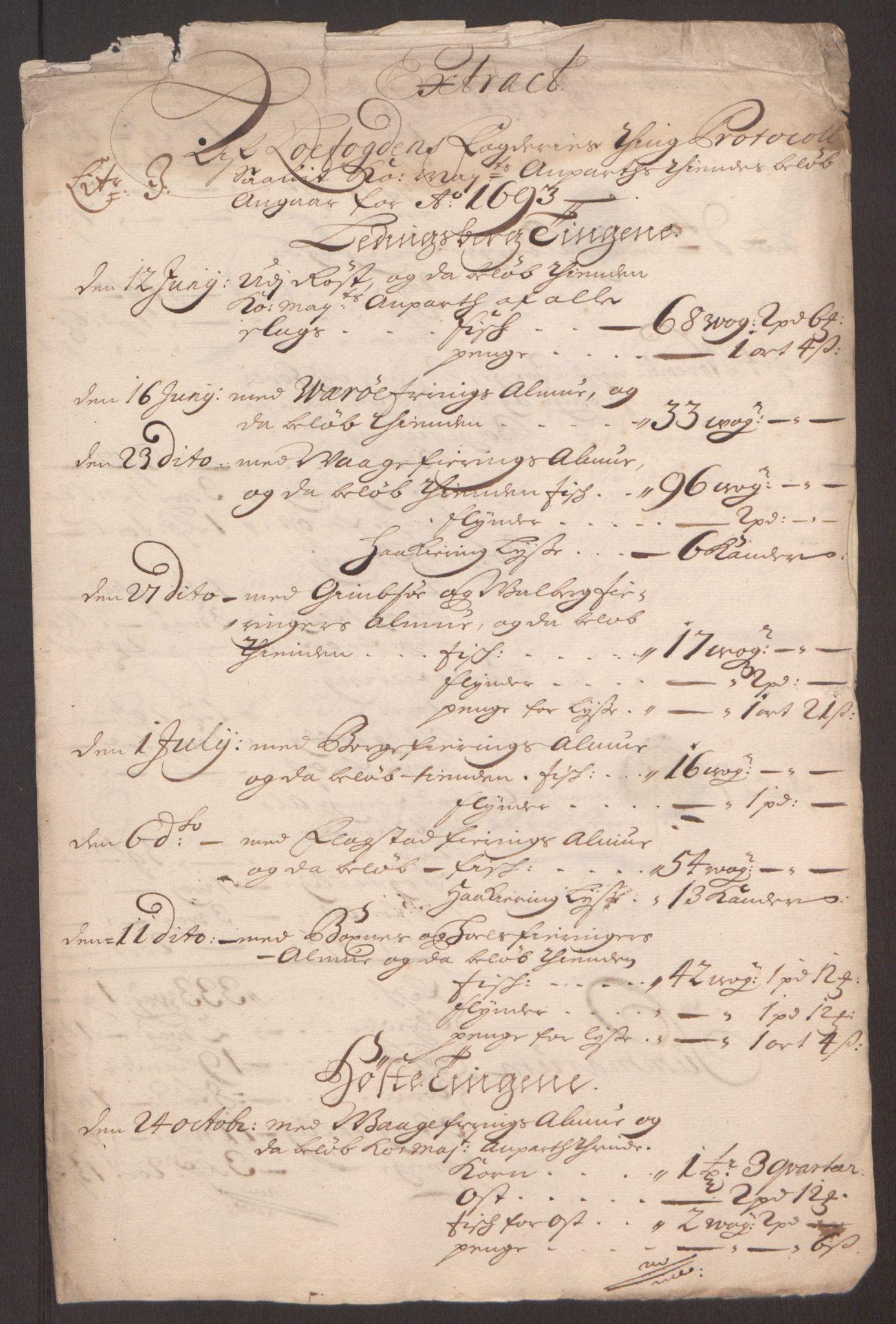 RA, Rentekammeret inntil 1814, Reviderte regnskaper, Fogderegnskap, R67/L4675: Fogderegnskap Vesterålen, Andenes og Lofoten, 1691-1693, s. 284