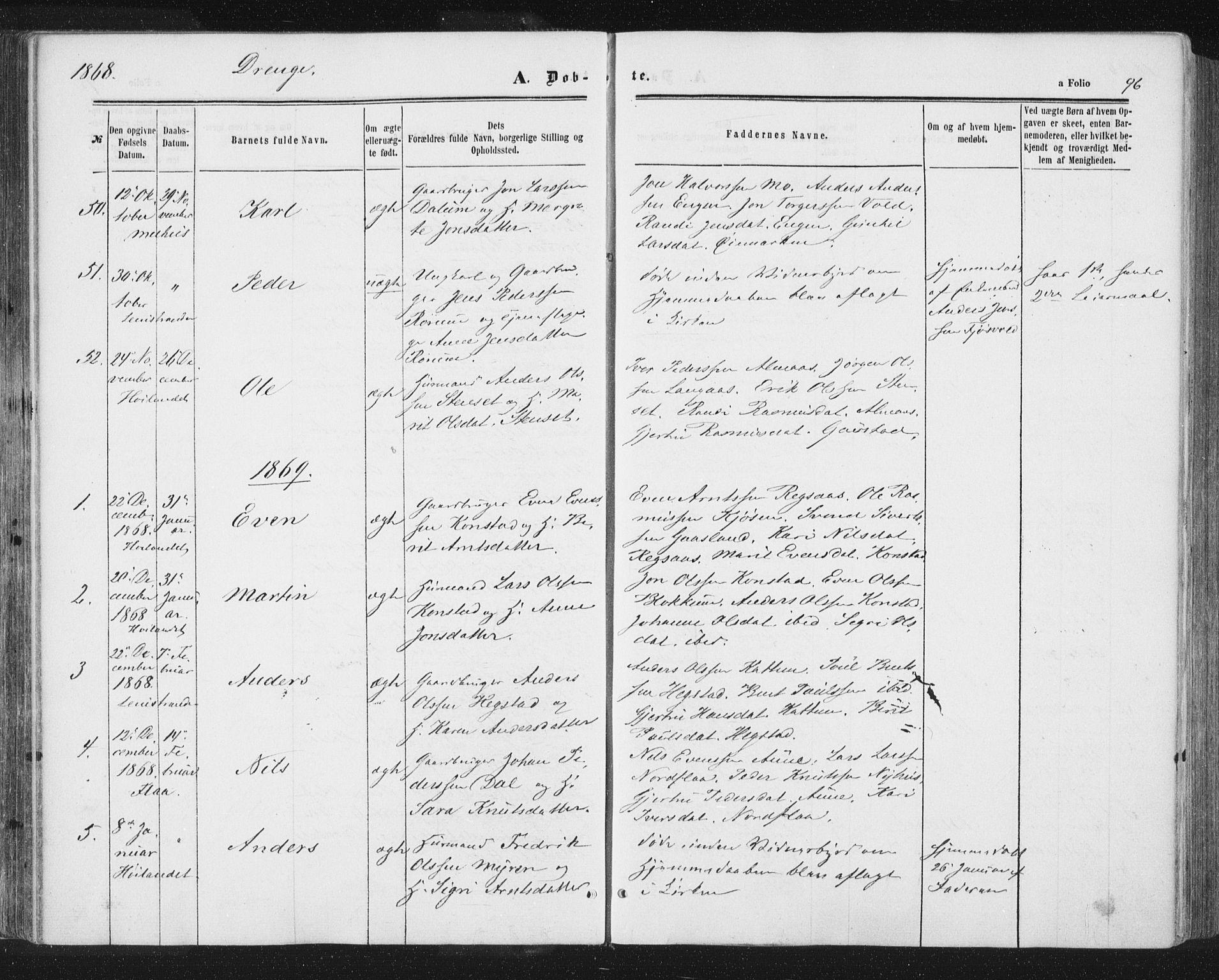 SAT, Ministerialprotokoller, klokkerbøker og fødselsregistre - Sør-Trøndelag, 691/L1077: Ministerialbok nr. 691A09, 1862-1873, s. 96