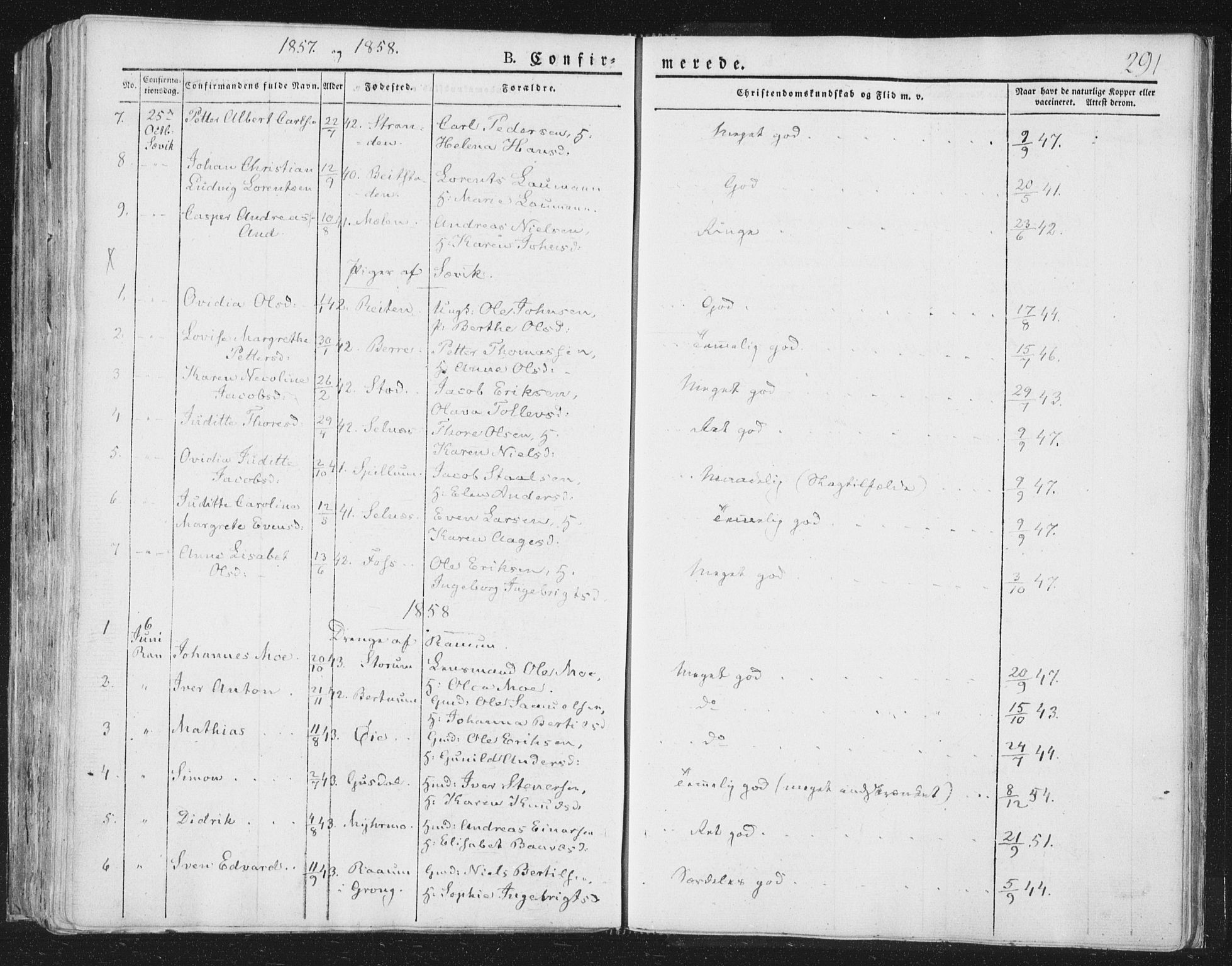 SAT, Ministerialprotokoller, klokkerbøker og fødselsregistre - Nord-Trøndelag, 764/L0551: Ministerialbok nr. 764A07a, 1824-1864, s. 291
