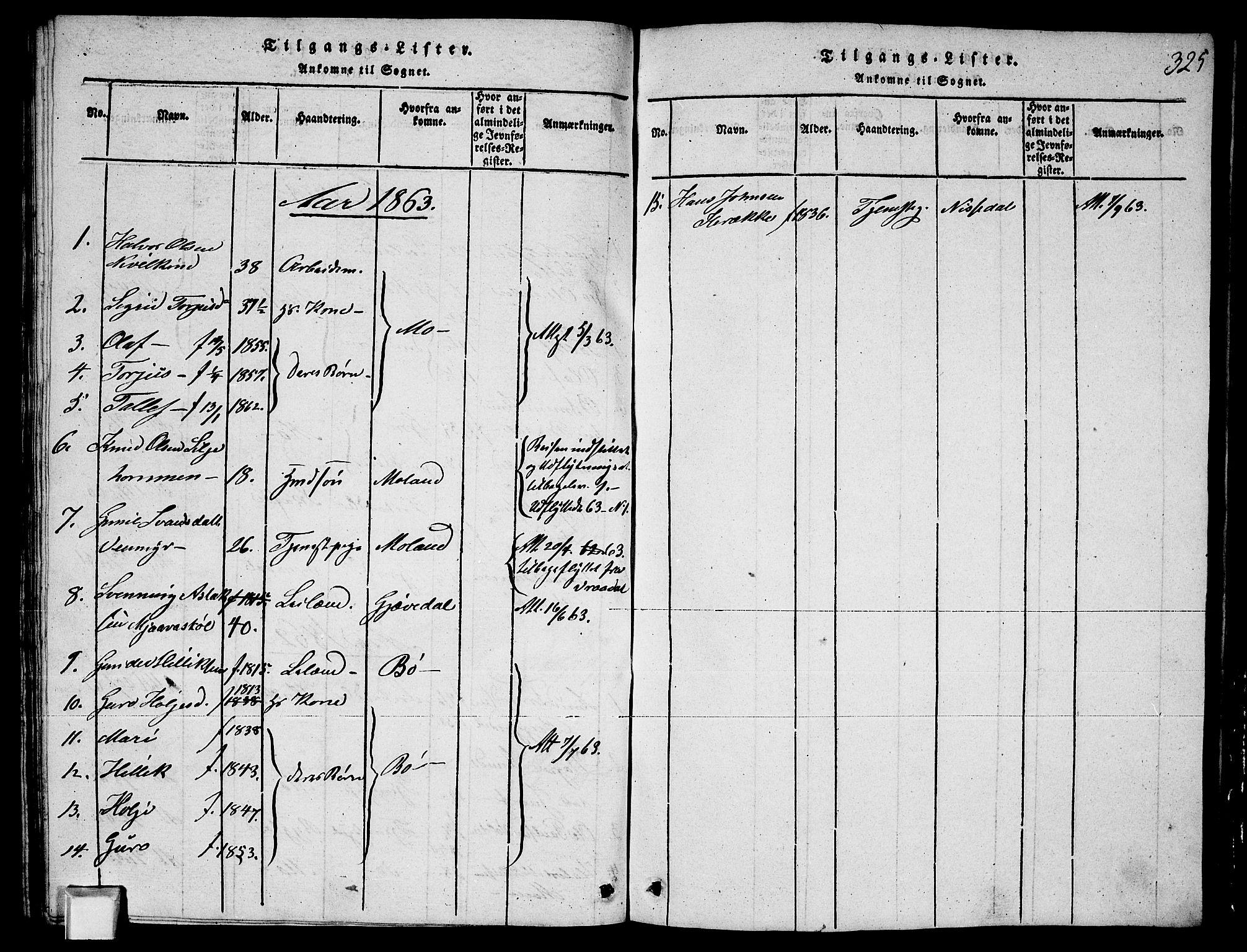 SAKO, Fyresdal kirkebøker, G/Ga/L0003: Klokkerbok nr. I 3, 1815-1863, s. 325