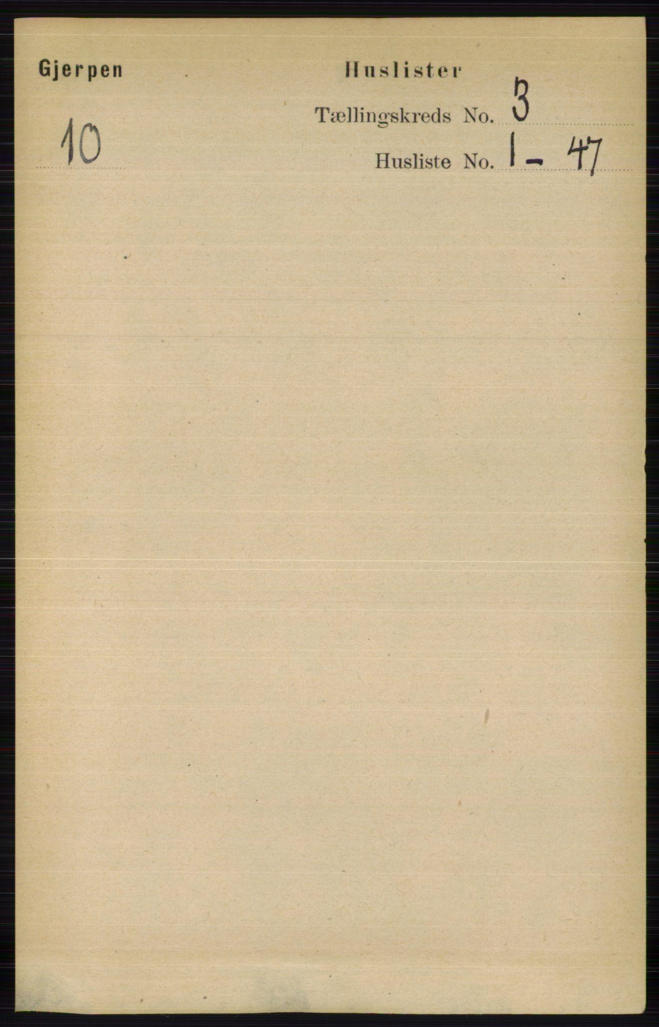 RA, Folketelling 1891 for 0812 Gjerpen herred, 1891, s. 1409