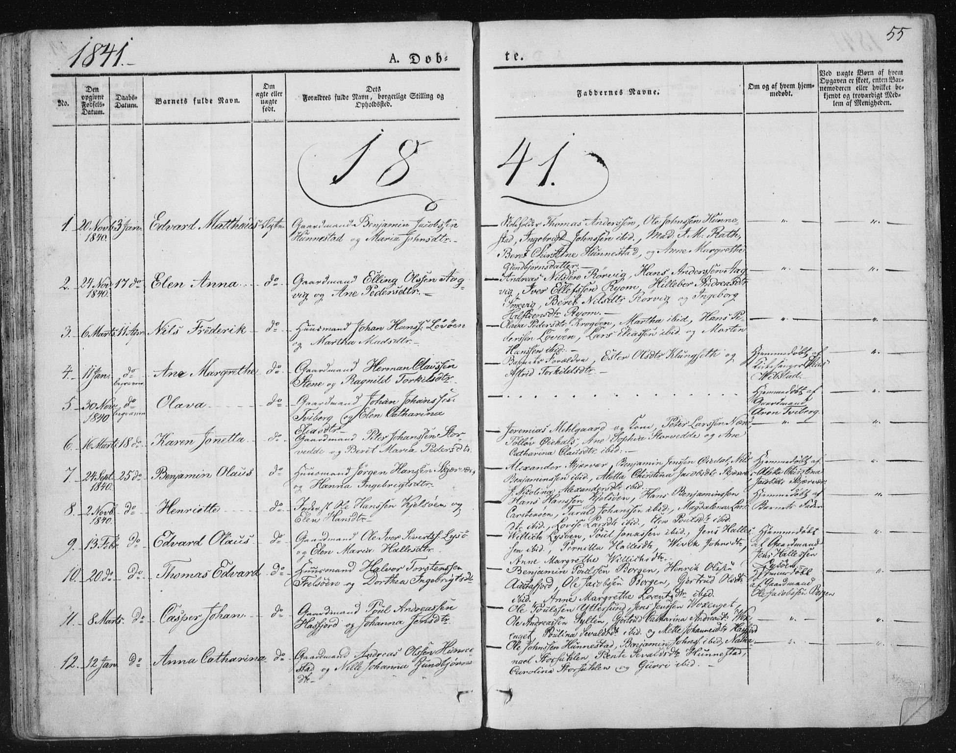 SAT, Ministerialprotokoller, klokkerbøker og fødselsregistre - Nord-Trøndelag, 784/L0669: Ministerialbok nr. 784A04, 1829-1859, s. 55