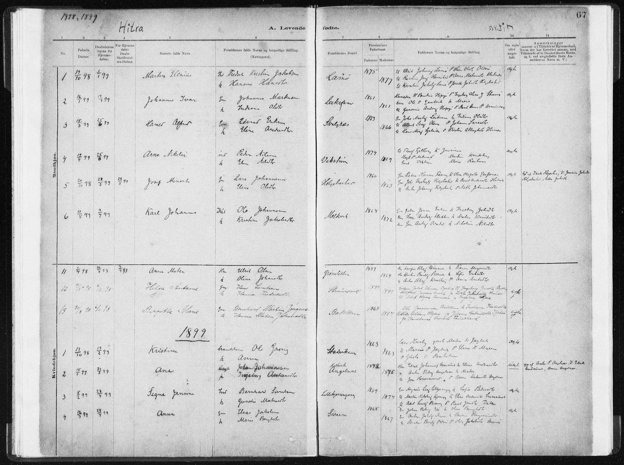 SAT, Ministerialprotokoller, klokkerbøker og fødselsregistre - Sør-Trøndelag, 634/L0533: Ministerialbok nr. 634A09, 1882-1901, s. 67