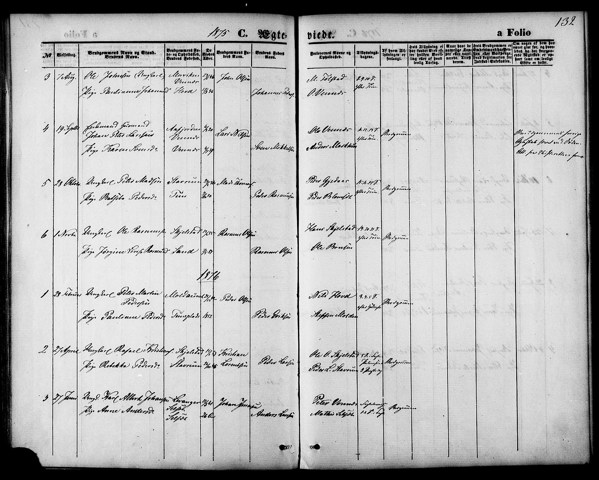 SAT, Ministerialprotokoller, klokkerbøker og fødselsregistre - Nord-Trøndelag, 744/L0419: Ministerialbok nr. 744A03, 1867-1881, s. 132