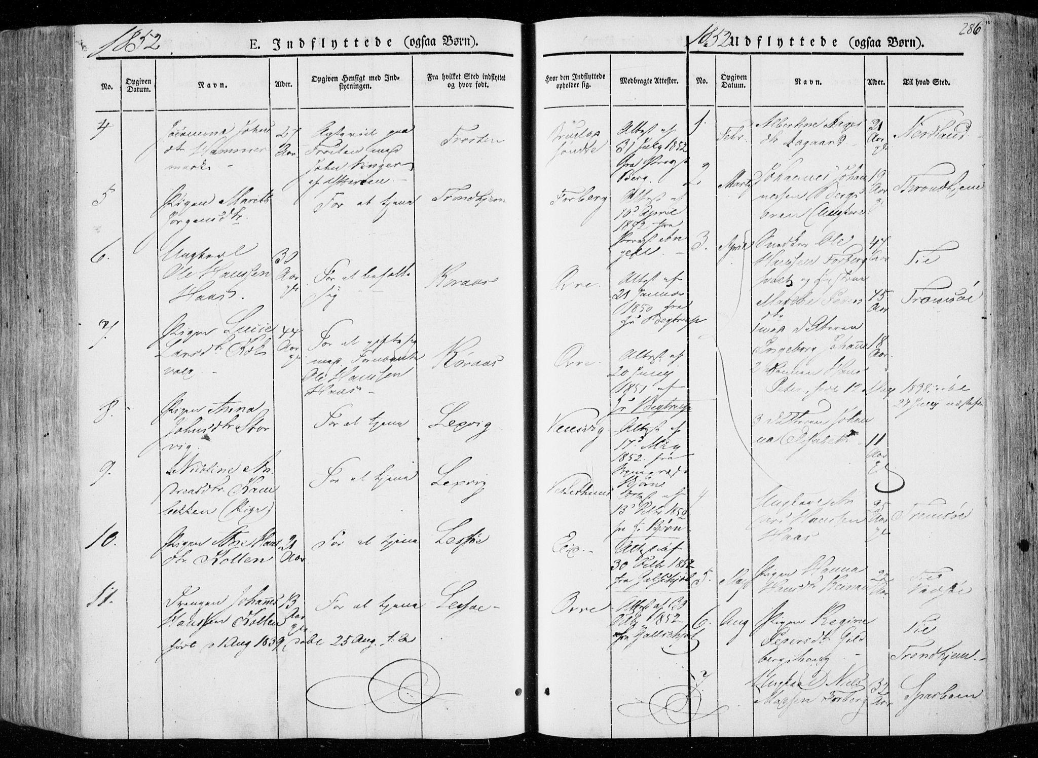 SAT, Ministerialprotokoller, klokkerbøker og fødselsregistre - Nord-Trøndelag, 722/L0218: Ministerialbok nr. 722A05, 1843-1868, s. 286