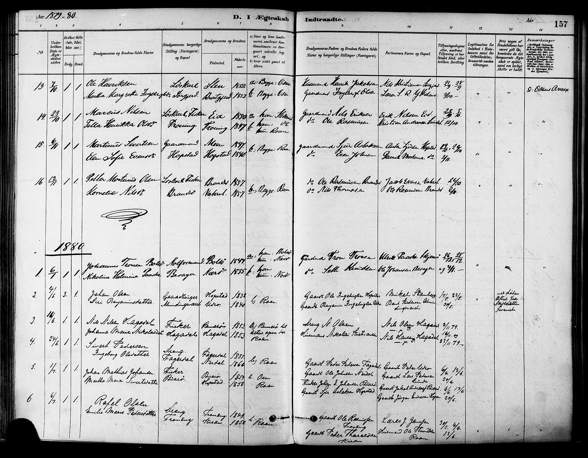 SAT, Ministerialprotokoller, klokkerbøker og fødselsregistre - Sør-Trøndelag, 657/L0707: Ministerialbok nr. 657A08, 1879-1893, s. 157