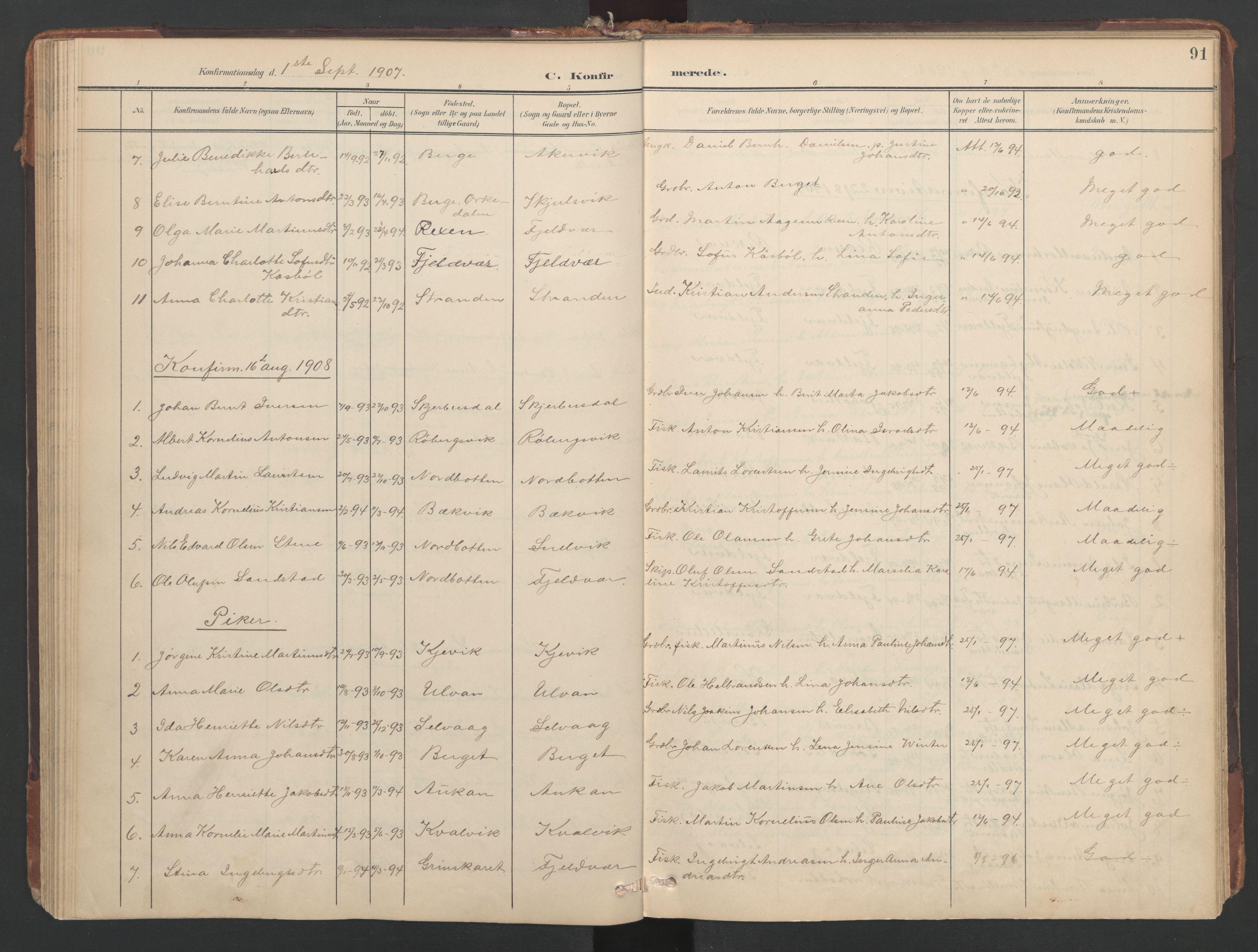 SAT, Ministerialprotokoller, klokkerbøker og fødselsregistre - Sør-Trøndelag, 638/L0568: Ministerialbok nr. 638A01, 1901-1916, s. 91