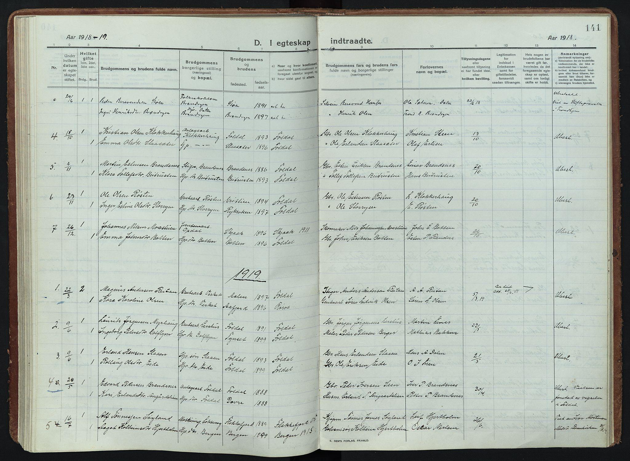 SAH, Alvdal prestekontor, Ministerialbok nr. 5, 1913-1930, s. 141