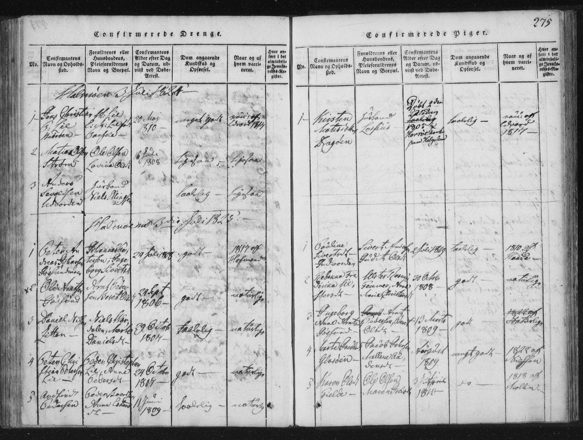 SAT, Ministerialprotokoller, klokkerbøker og fødselsregistre - Nord-Trøndelag, 773/L0609: Ministerialbok nr. 773A03 /3, 1815-1830, s. 275