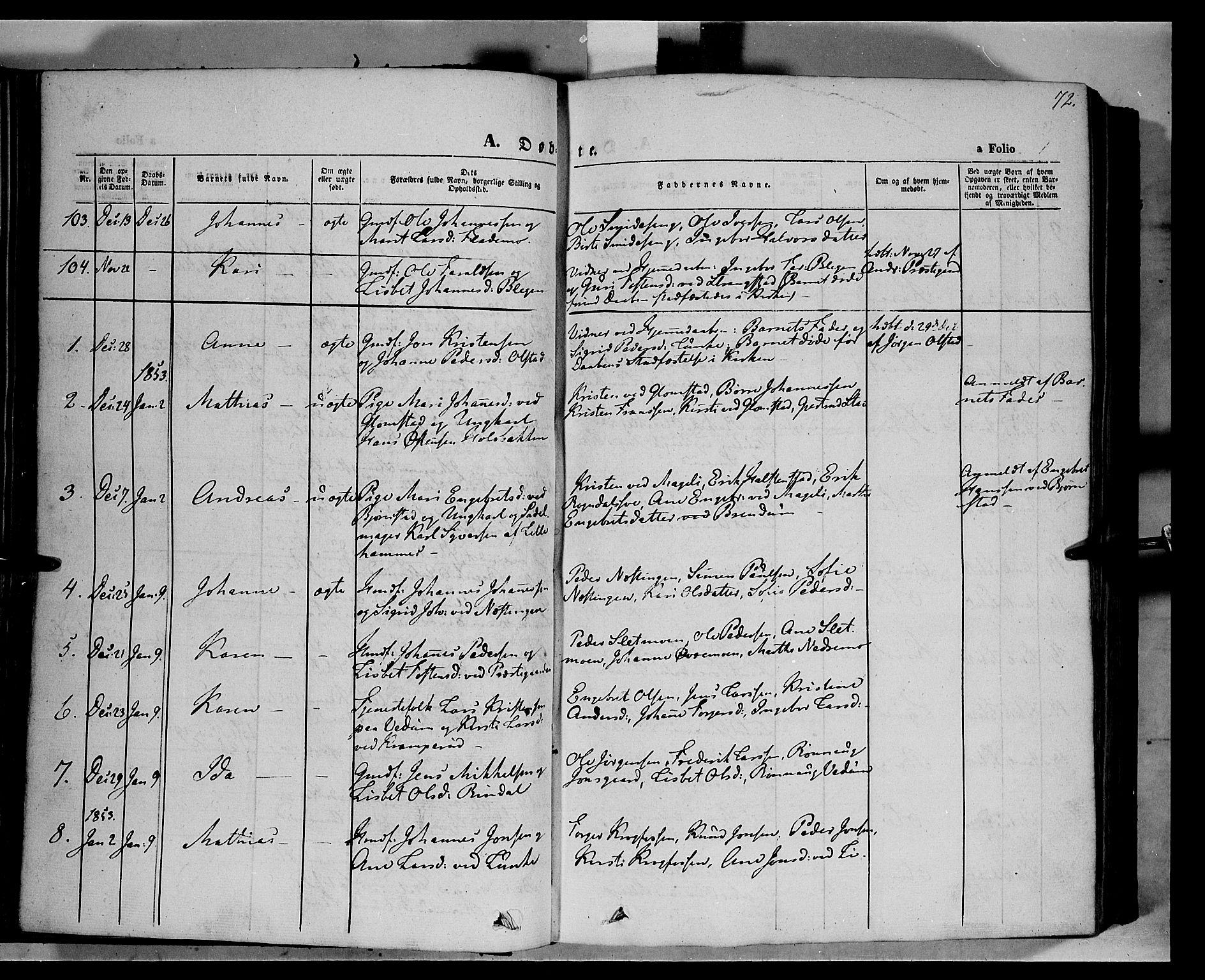 SAH, Øyer prestekontor, Ministerialbok nr. 5, 1842-1857, s. 72