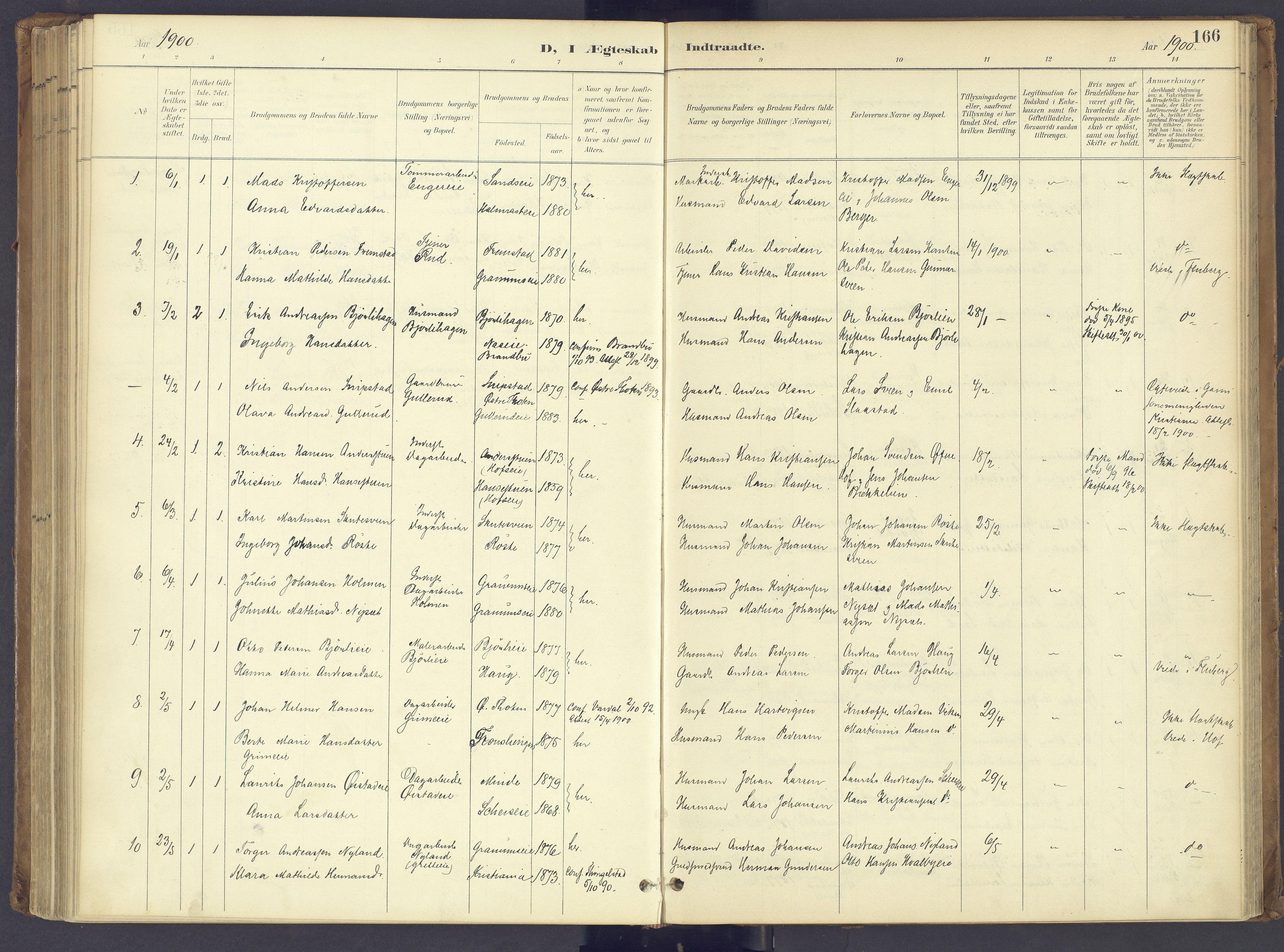 SAH, Søndre Land prestekontor, K/L0006: Ministerialbok nr. 6, 1895-1904, s. 166