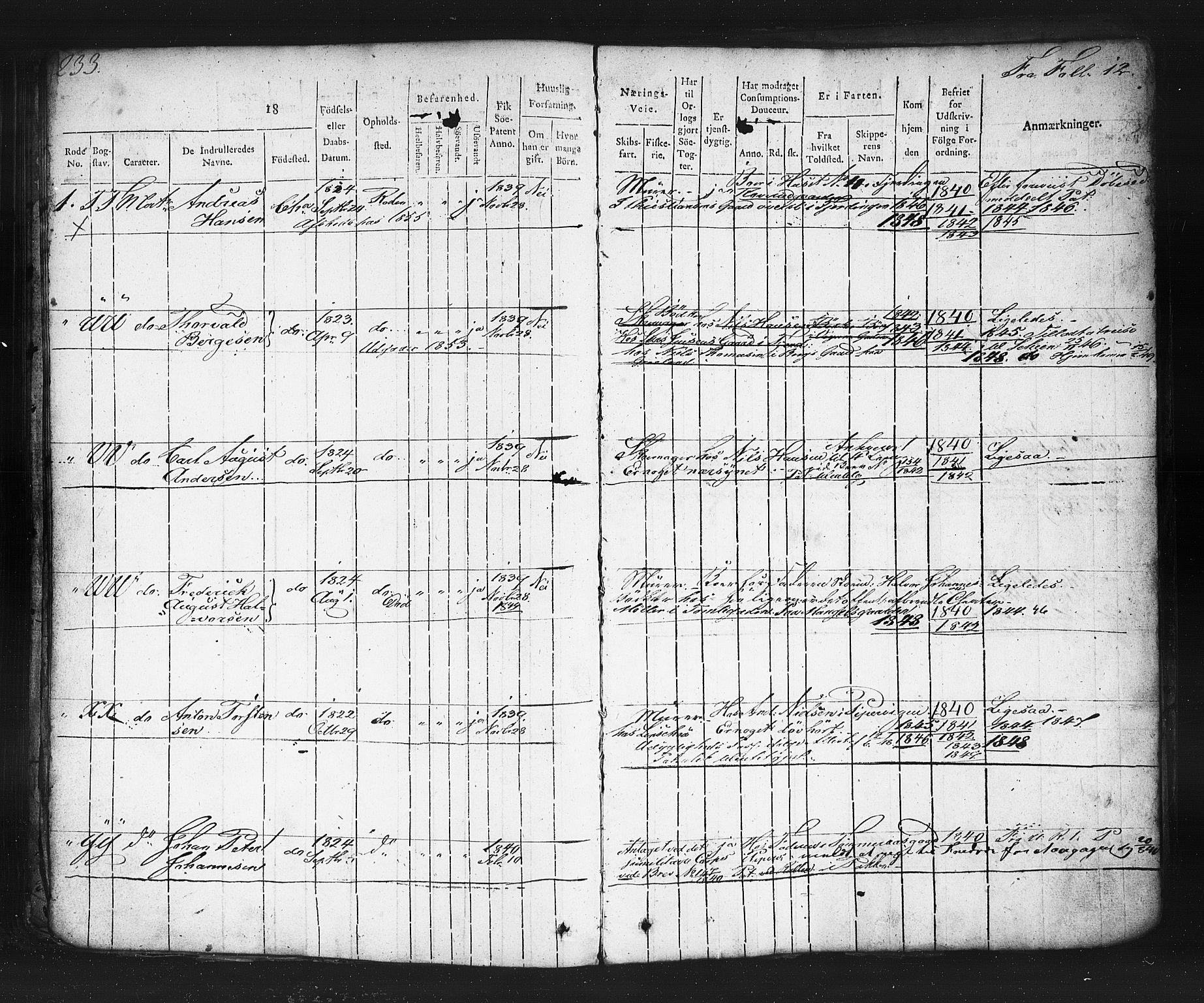 SAO, Oslo mønstringskontor, F/Fc/Fcb/L0001: Hovedrulle, 1819, s. 233