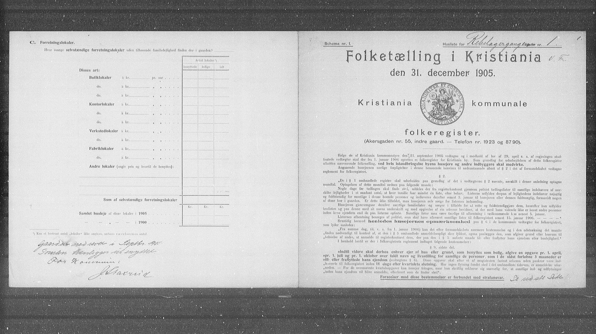 OBA, Kommunal folketelling 1905 for Kristiania kjøpstad, 1905, s. 43321