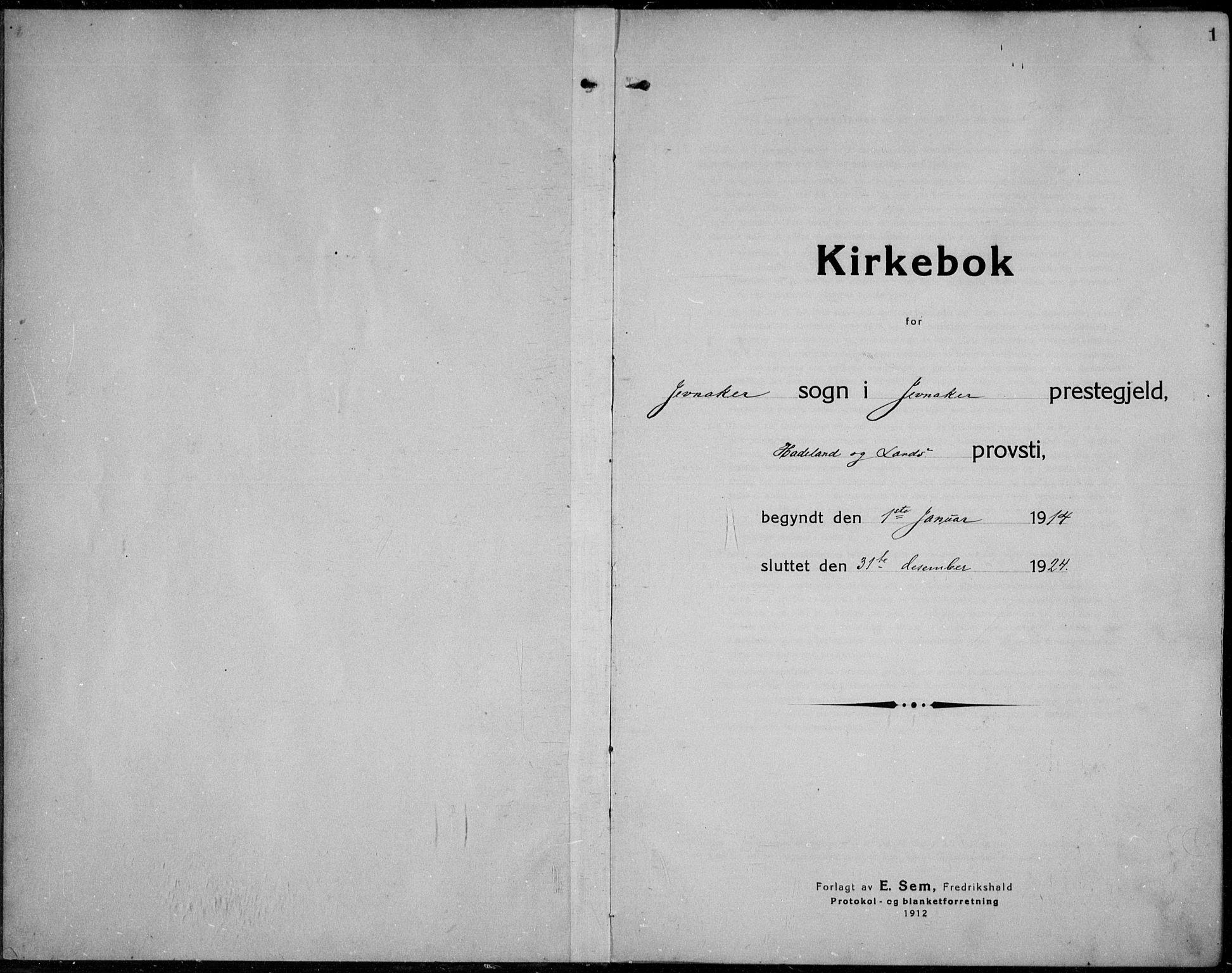 SAH, Jevnaker prestekontor, Ministerialbok nr. 12, 1914-1924, s. 1