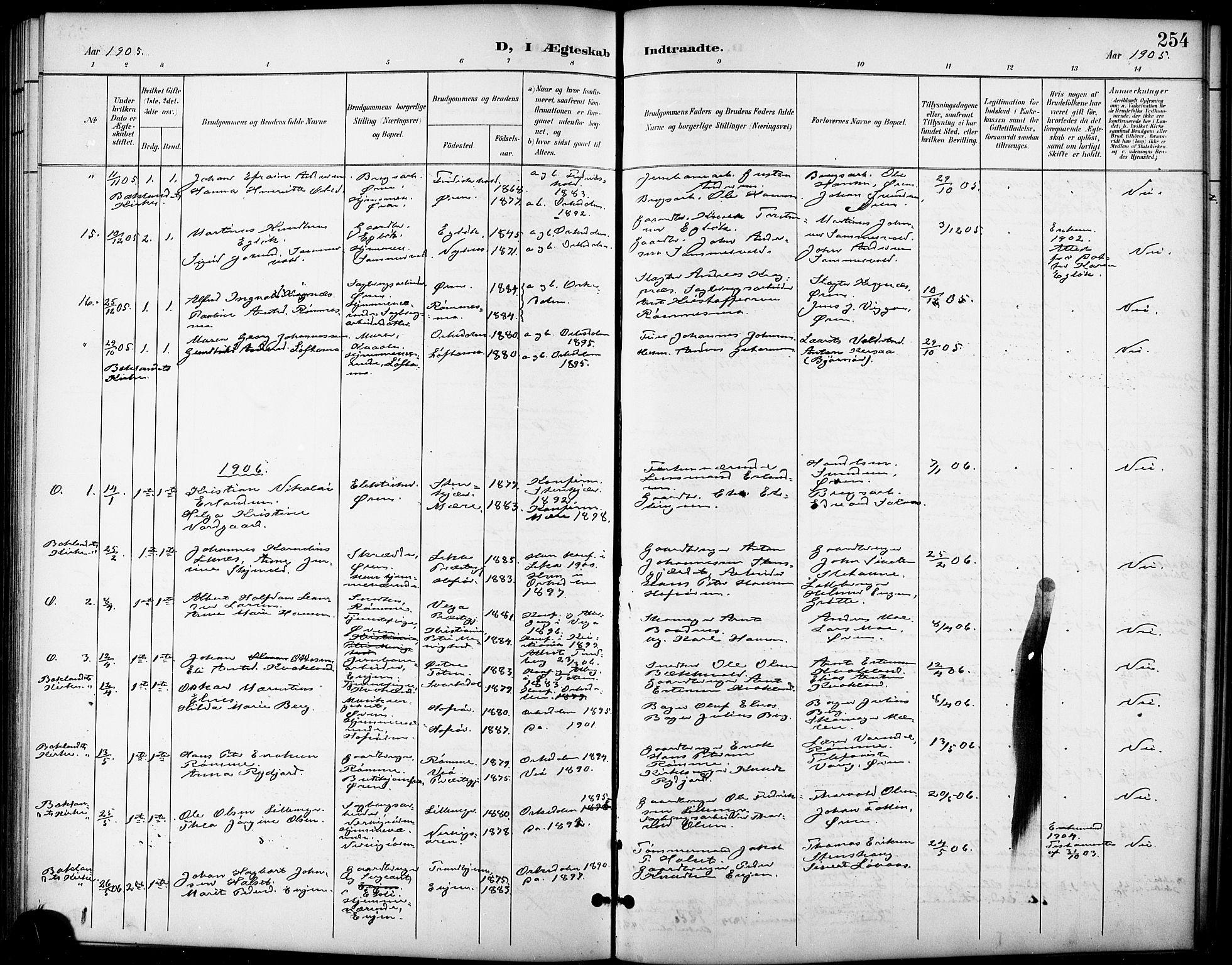 SAT, Ministerialprotokoller, klokkerbøker og fødselsregistre - Sør-Trøndelag, 668/L0819: Klokkerbok nr. 668C08, 1899-1912, s. 254