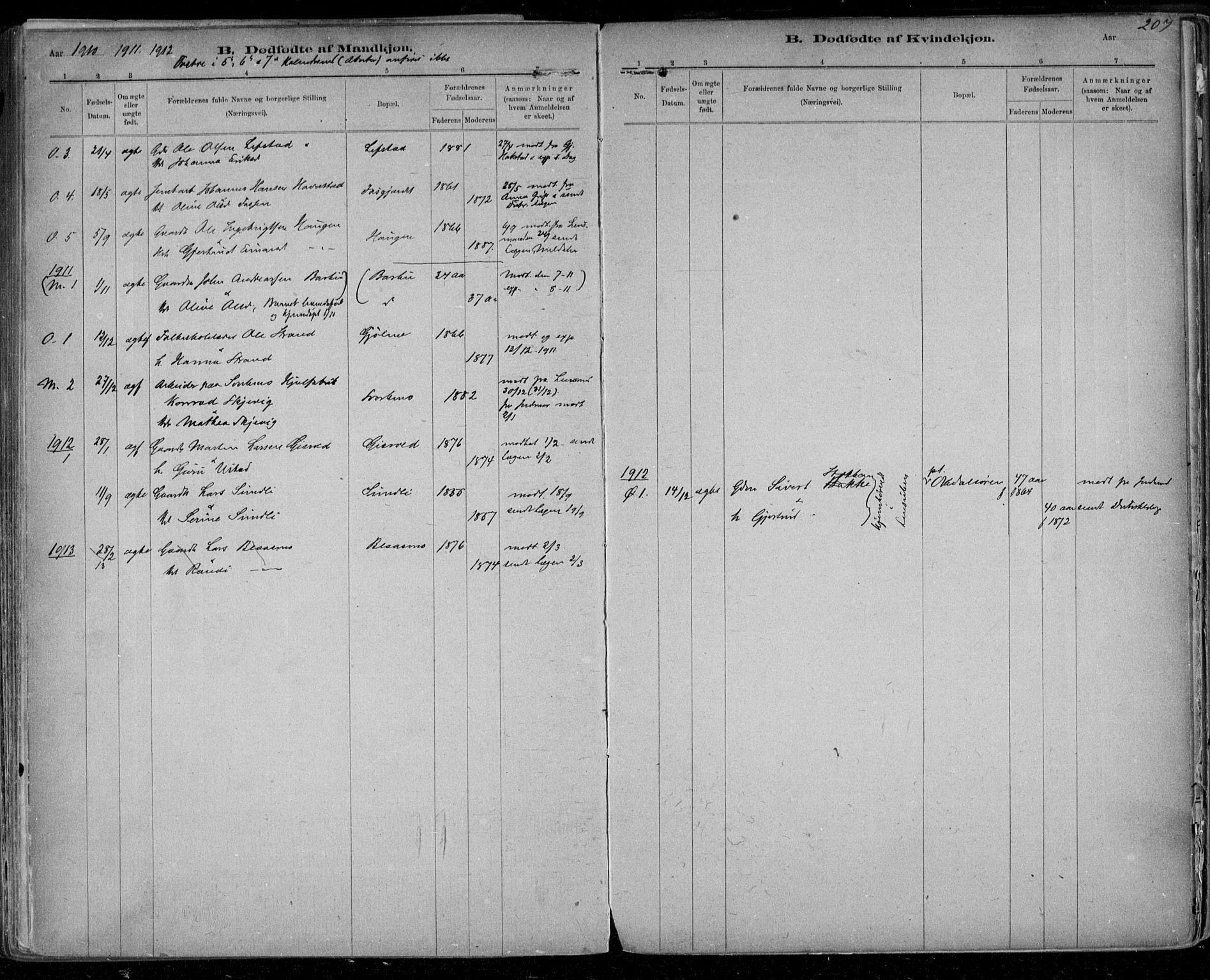 SAT, Ministerialprotokoller, klokkerbøker og fødselsregistre - Sør-Trøndelag, 668/L0811: Ministerialbok nr. 668A11, 1894-1913, s. 207