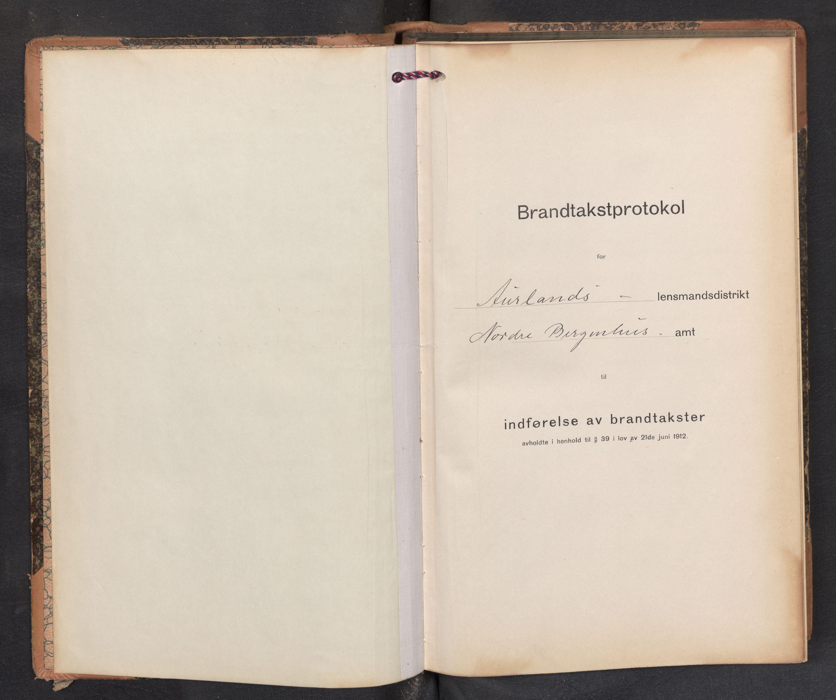 SAB, Lensmannen i Aurland, 0012/L0006: Branntakstprotokoll, skjematakst, 1916-1922