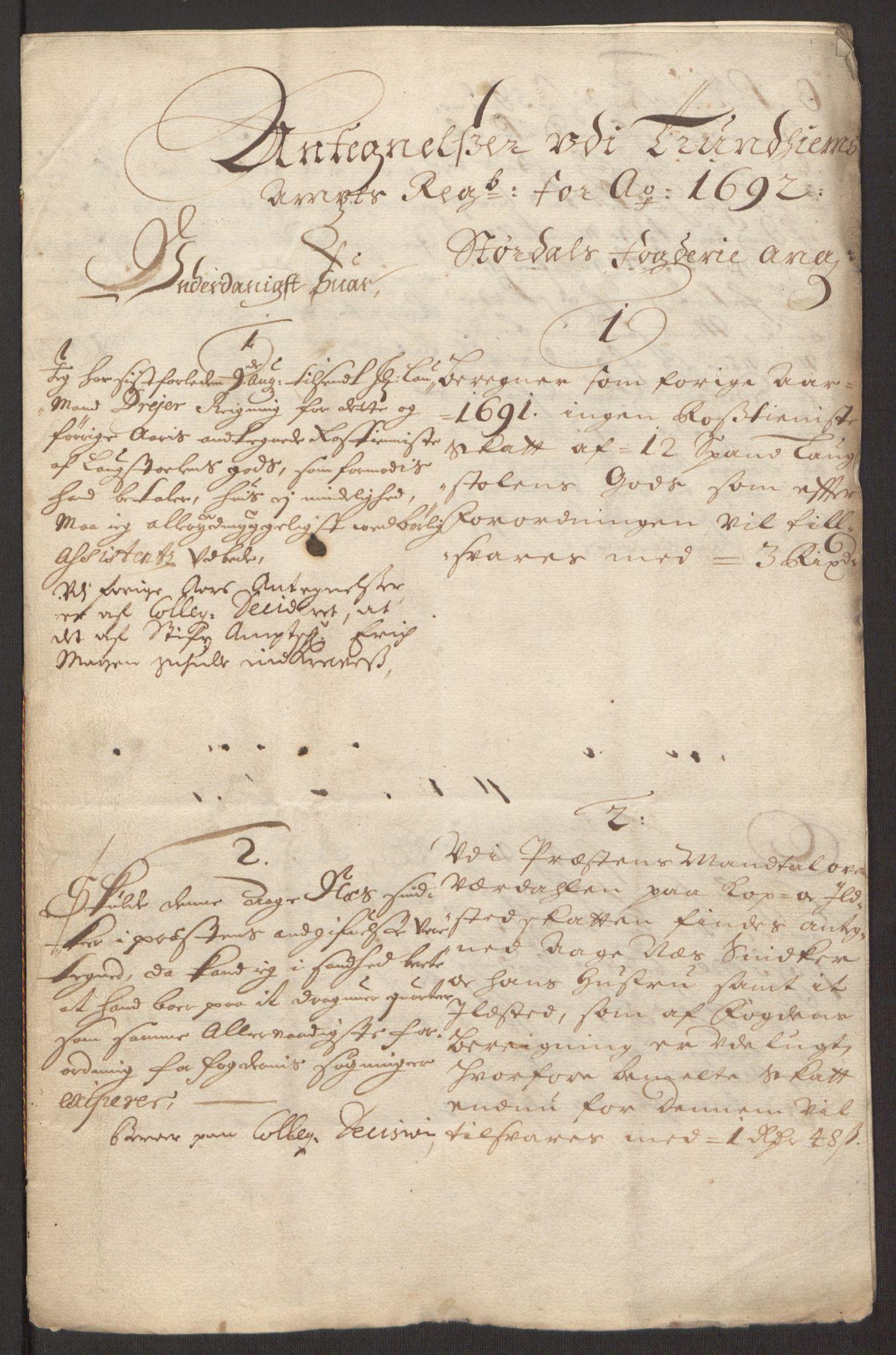 RA, Rentekammeret inntil 1814, Reviderte regnskaper, Fogderegnskap, R62/L4185: Fogderegnskap Stjørdal og Verdal, 1692, s. 378