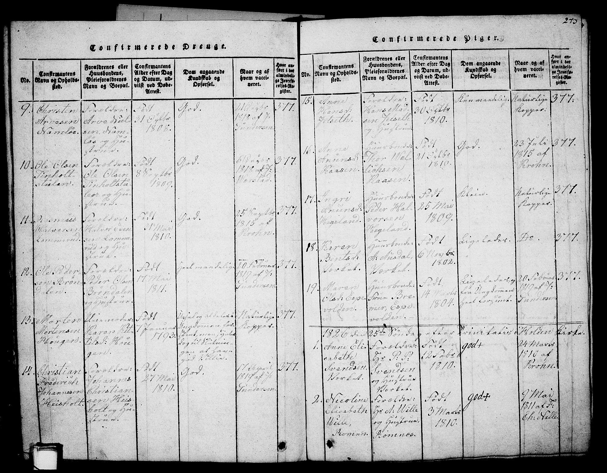 SAKO, Holla kirkebøker, G/Ga/L0001: Klokkerbok nr. I 1, 1814-1830, s. 273
