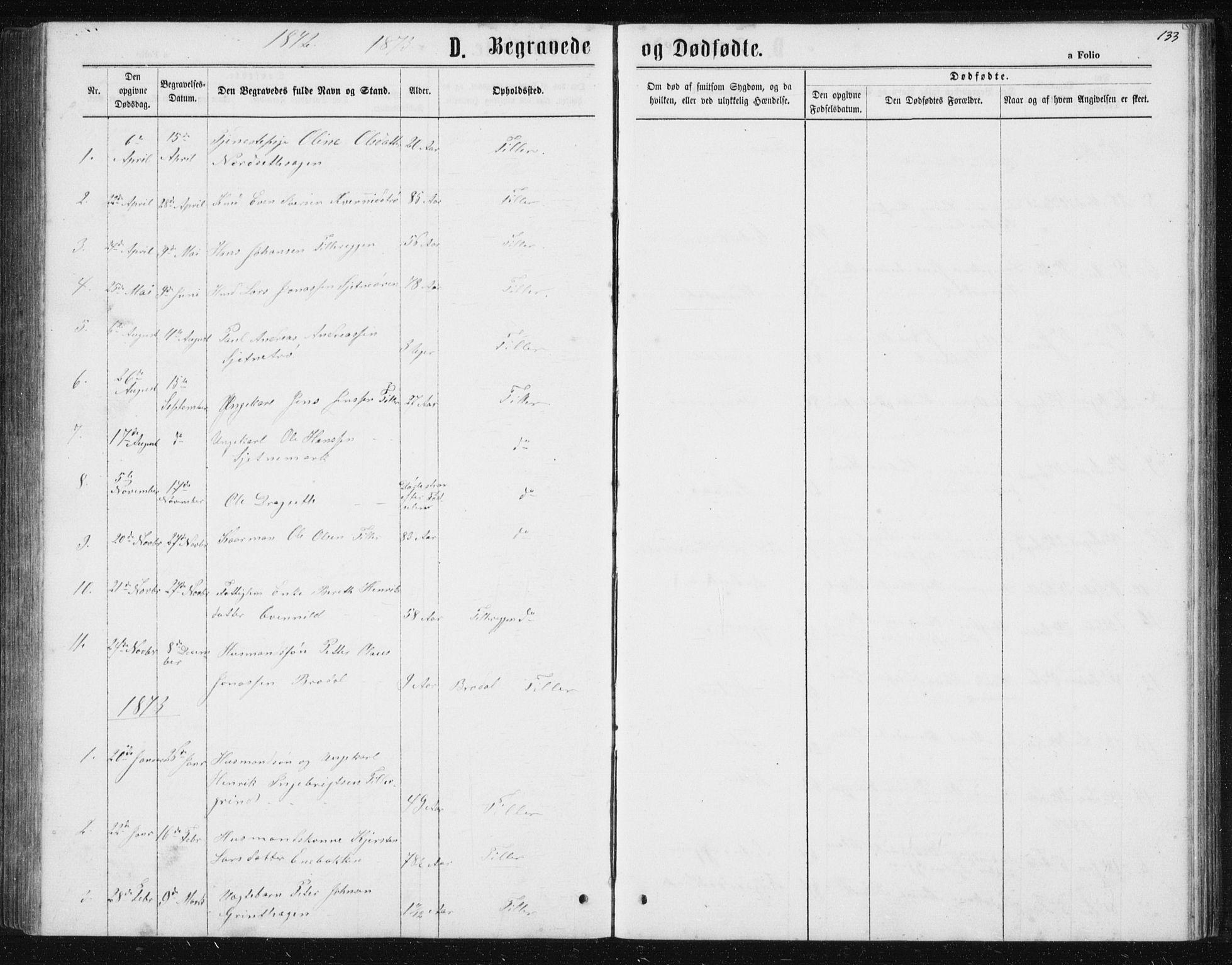 SAT, Ministerialprotokoller, klokkerbøker og fødselsregistre - Sør-Trøndelag, 621/L0459: Klokkerbok nr. 621C02, 1866-1895, s. 133