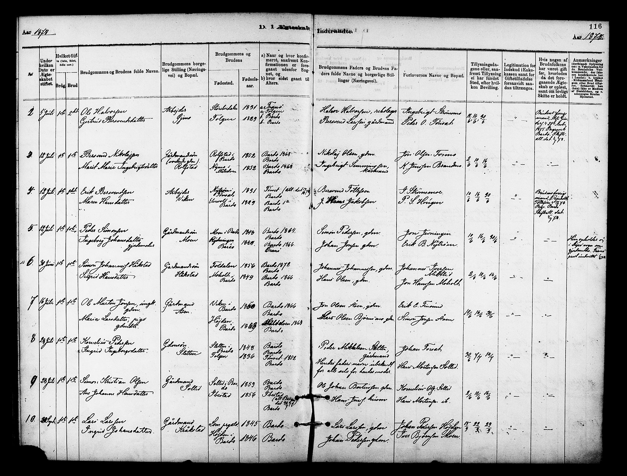 SATØ, Målselv sokneprestembete, Ministerialbok nr. 9, 1878-1889, s. 116