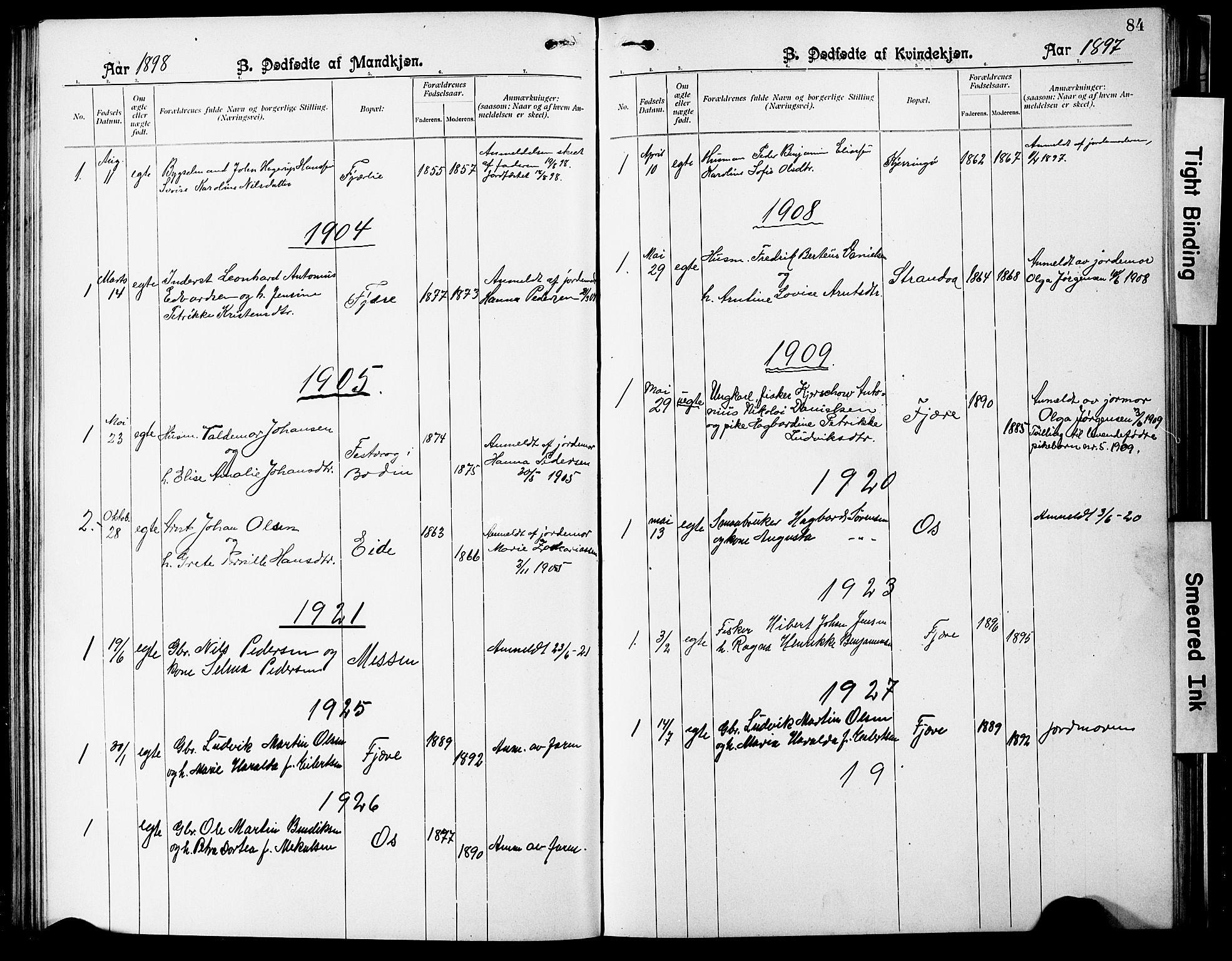 SAT, Ministerialprotokoller, klokkerbøker og fødselsregistre - Nordland, 803/L0077: Klokkerbok nr. 803C04, 1897-1930, s. 84
