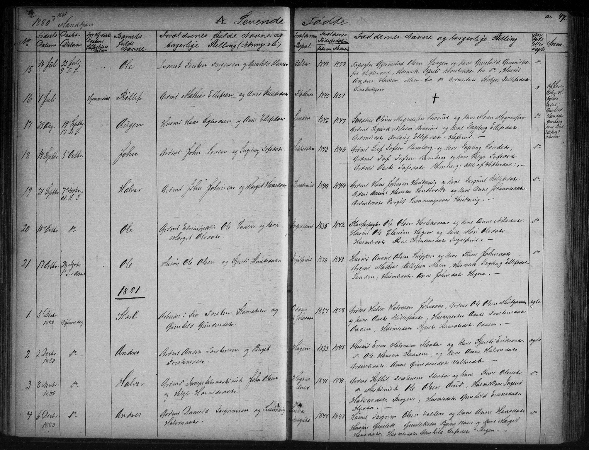 SAKO, Sauherad kirkebøker, G/Ga/L0003: Klokkerbok nr. I 3, 1866-1905, s. 47