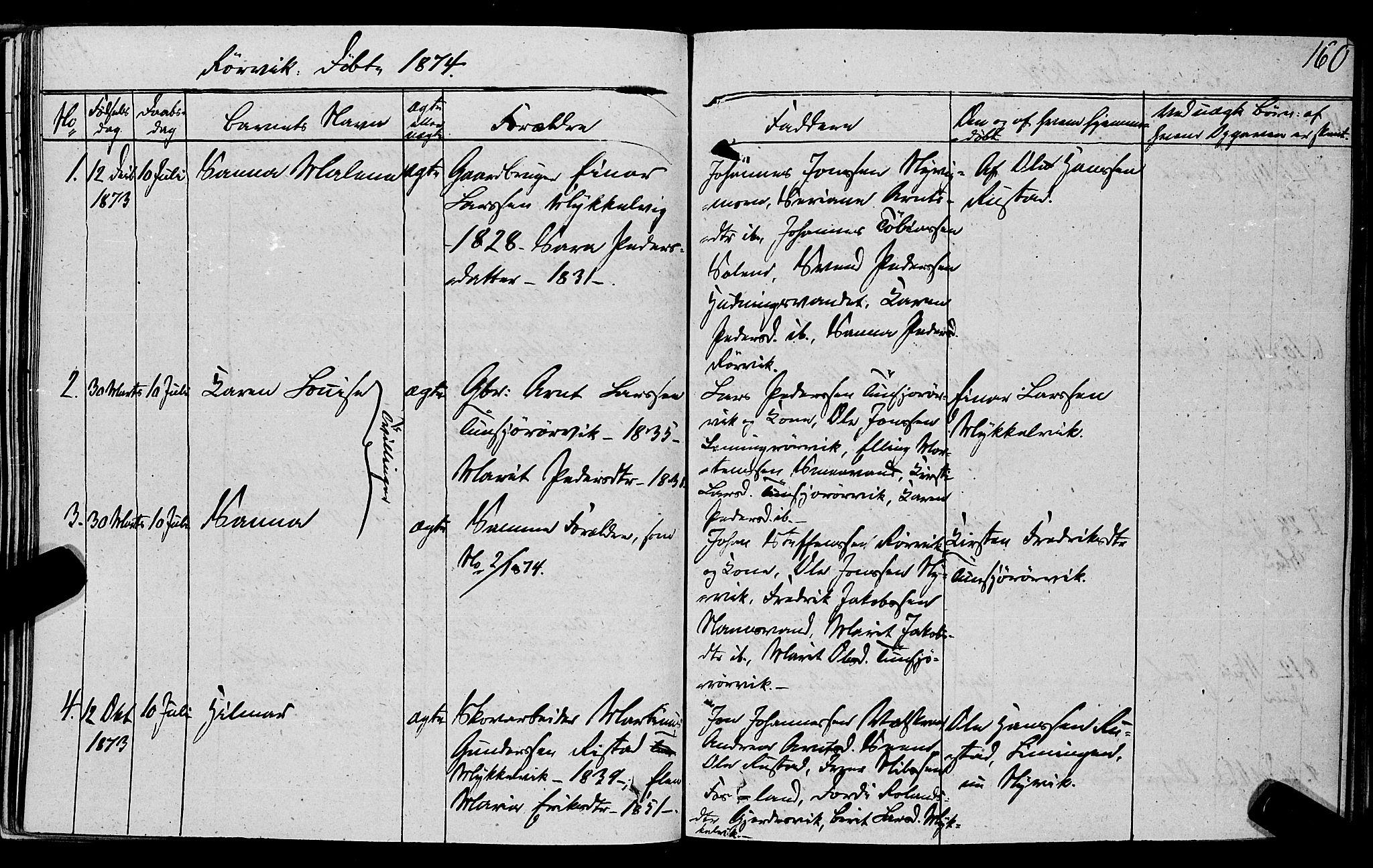SAT, Ministerialprotokoller, klokkerbøker og fødselsregistre - Nord-Trøndelag, 762/L0538: Ministerialbok nr. 762A02 /1, 1833-1879, s. 160