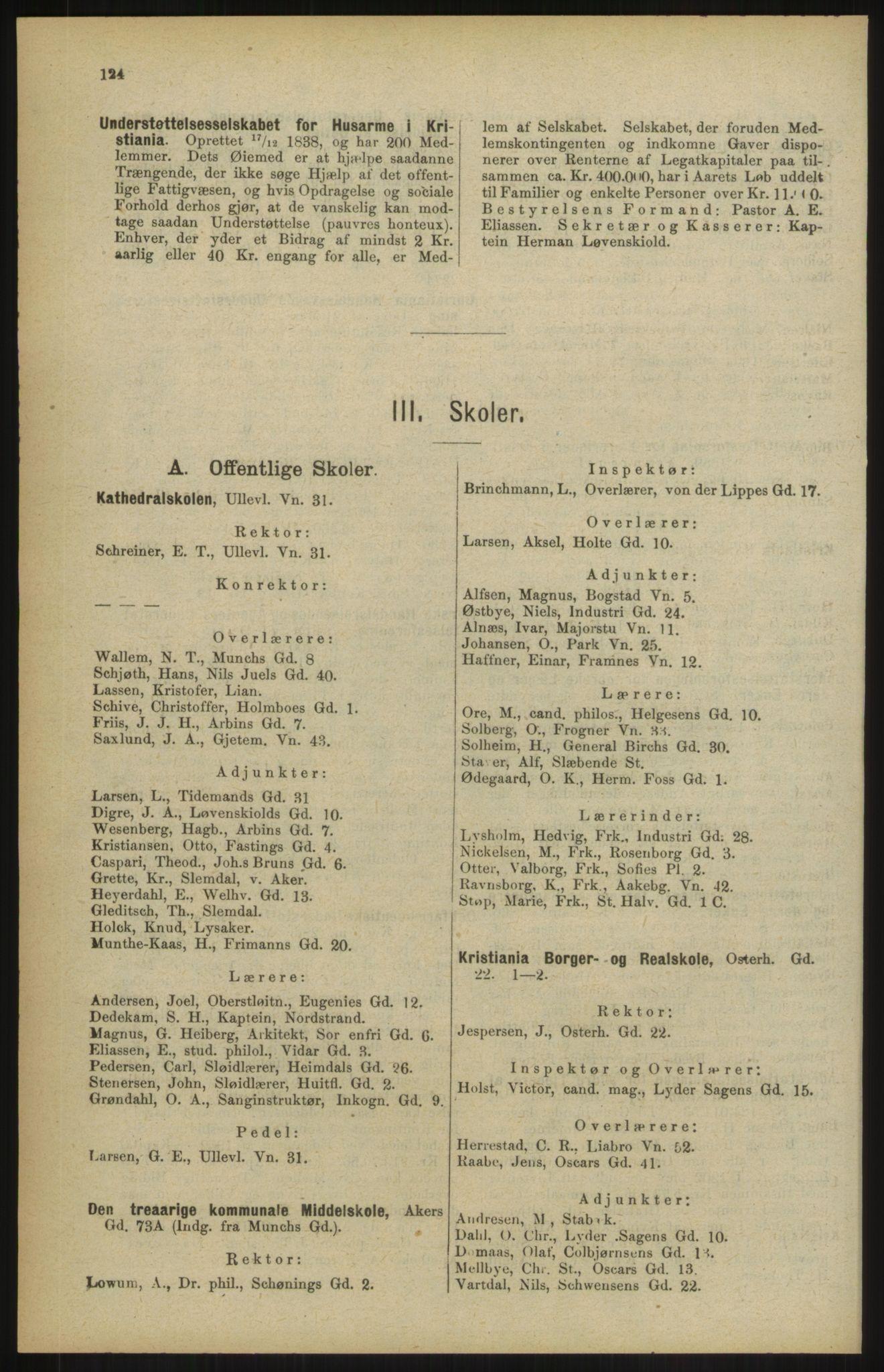 RA, Kristiania adressebok (publikasjon)*, 1904, s. 124