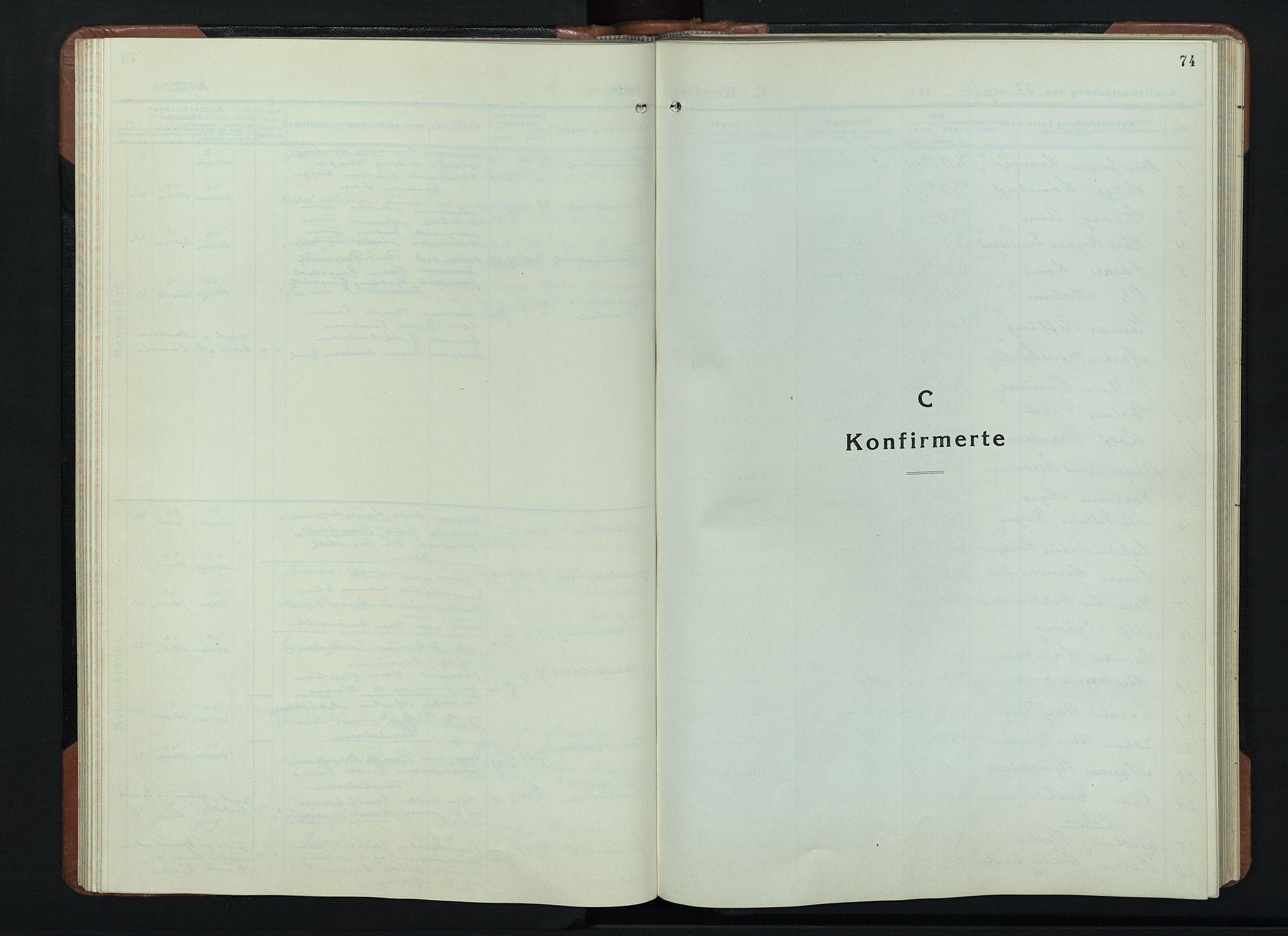 SAH, Vardal prestekontor, H/Ha/Hab/L0018: Klokkerbok nr. 18, 1931-1951, s. 74