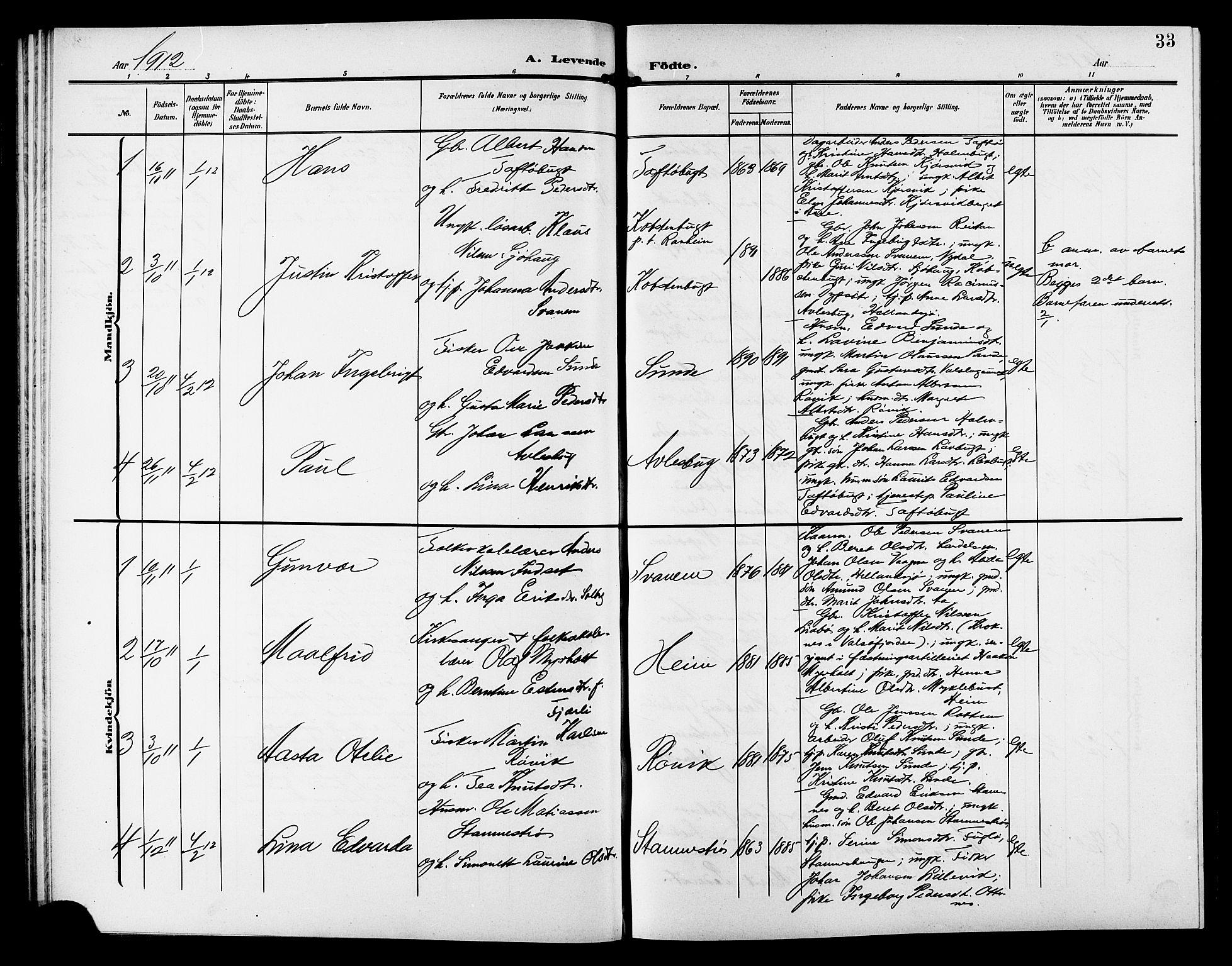 SAT, Ministerialprotokoller, klokkerbøker og fødselsregistre - Sør-Trøndelag, 633/L0520: Klokkerbok nr. 633C02, 1906-1921, s. 33