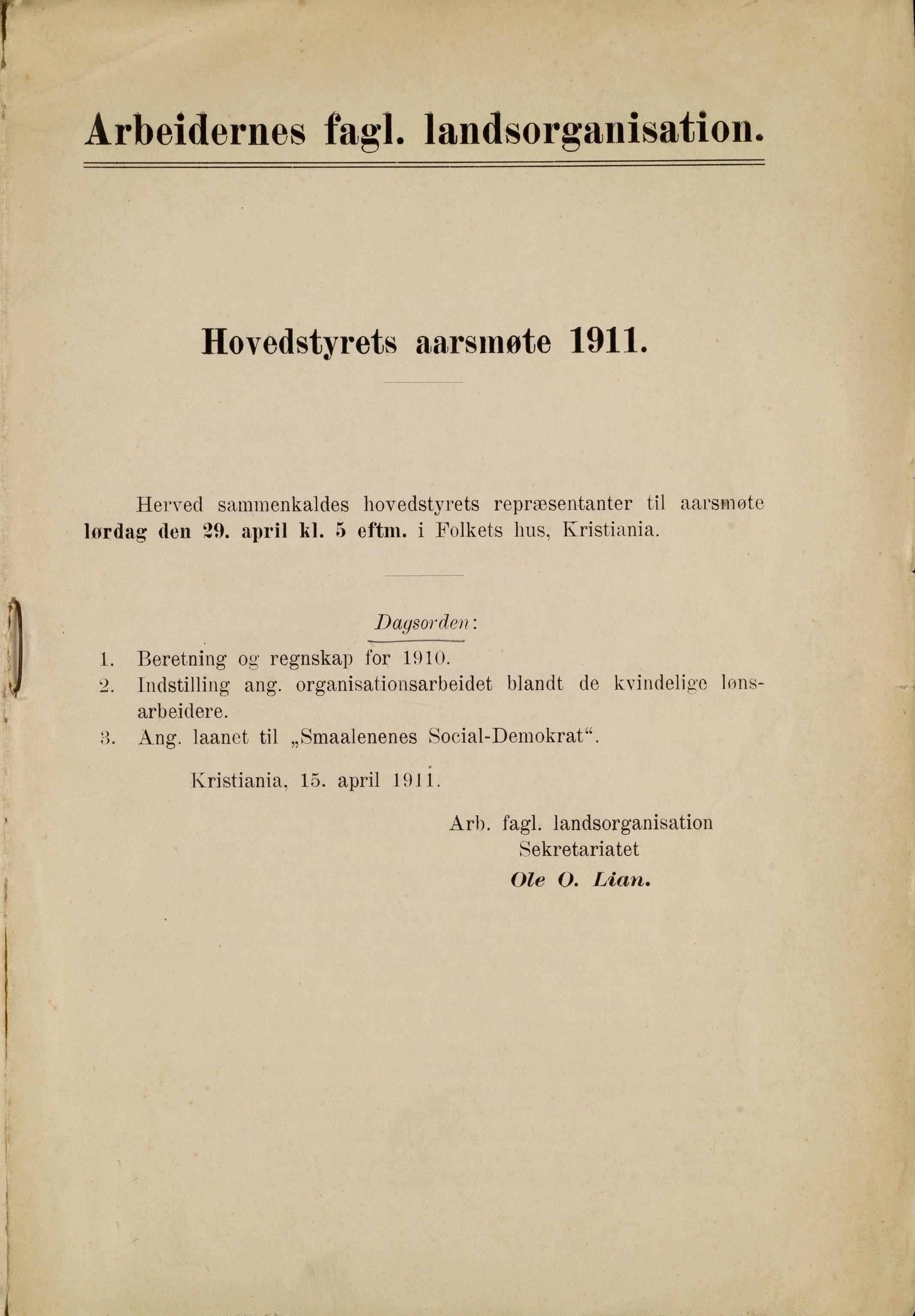 AAB, Landsorganisasjonen i Norge, 1911-1953, s. 1
