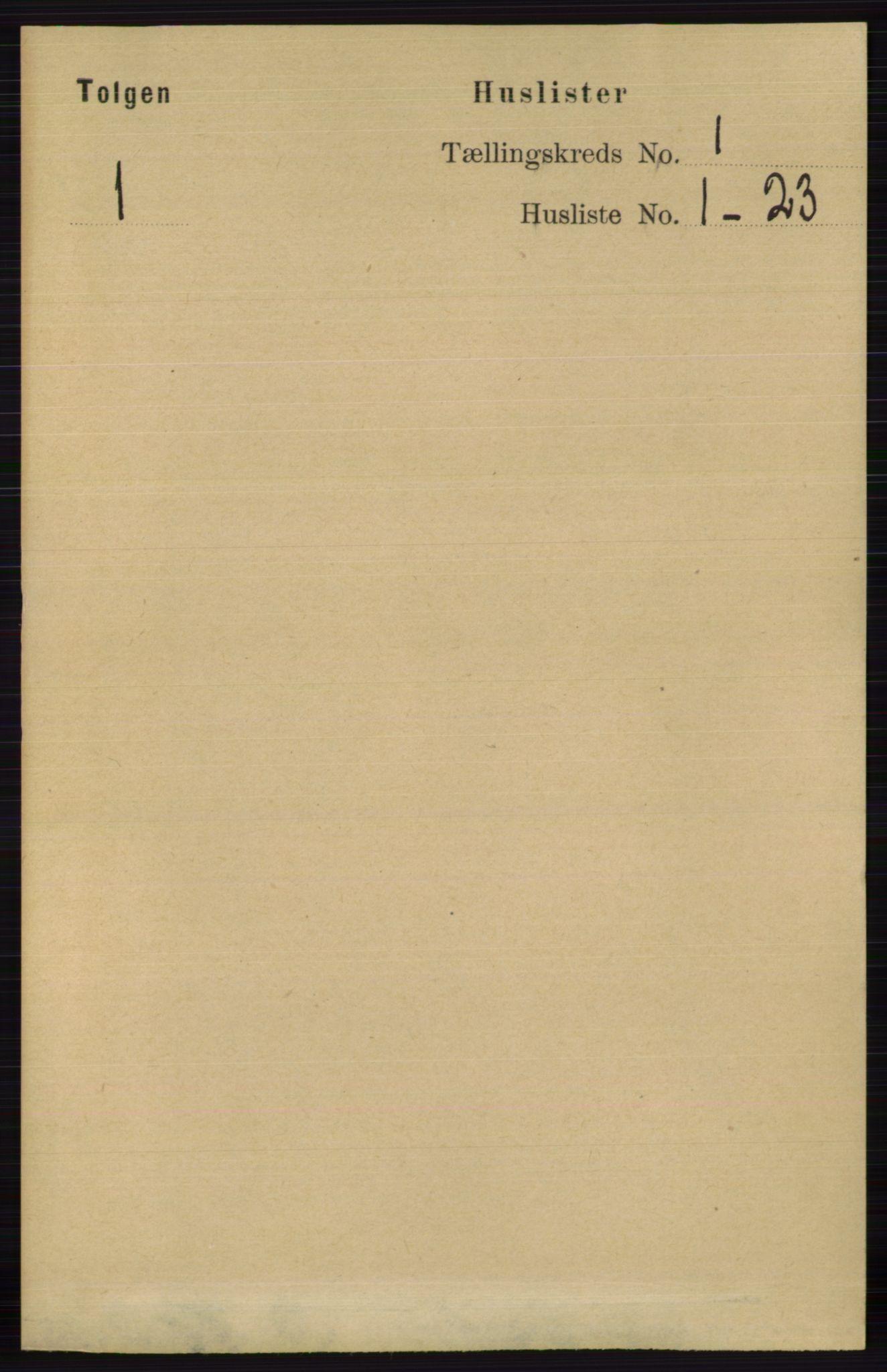 RA, Folketelling 1891 for 0436 Tolga herred, 1891, s. 45