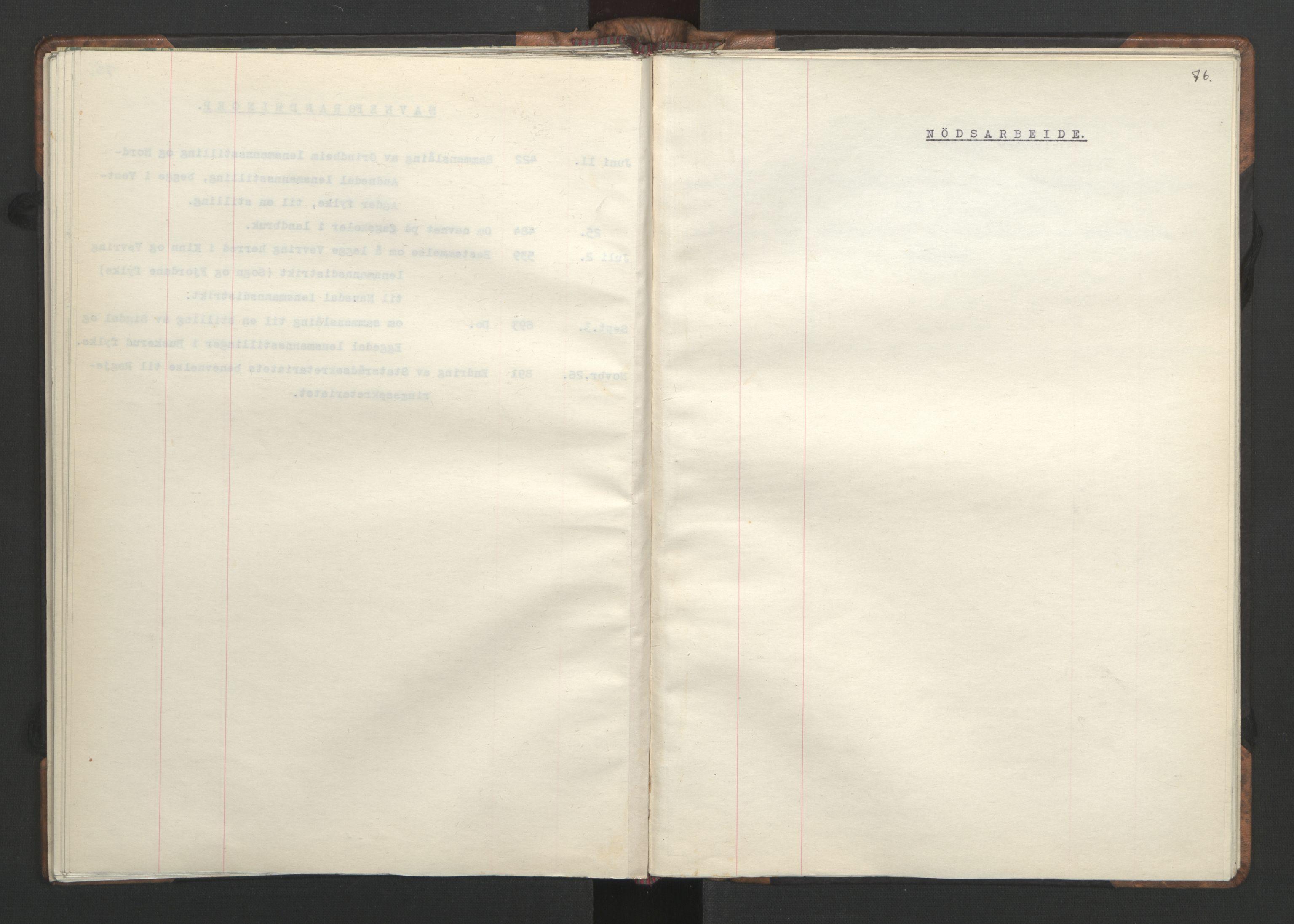 RA, NS-administrasjonen 1940-1945 (Statsrådsekretariatet, de kommisariske statsråder mm), D/Da/L0002: Register (RA j.nr. 985/1943, tilgangsnr. 17/1943), 1942, s. 75b-76a